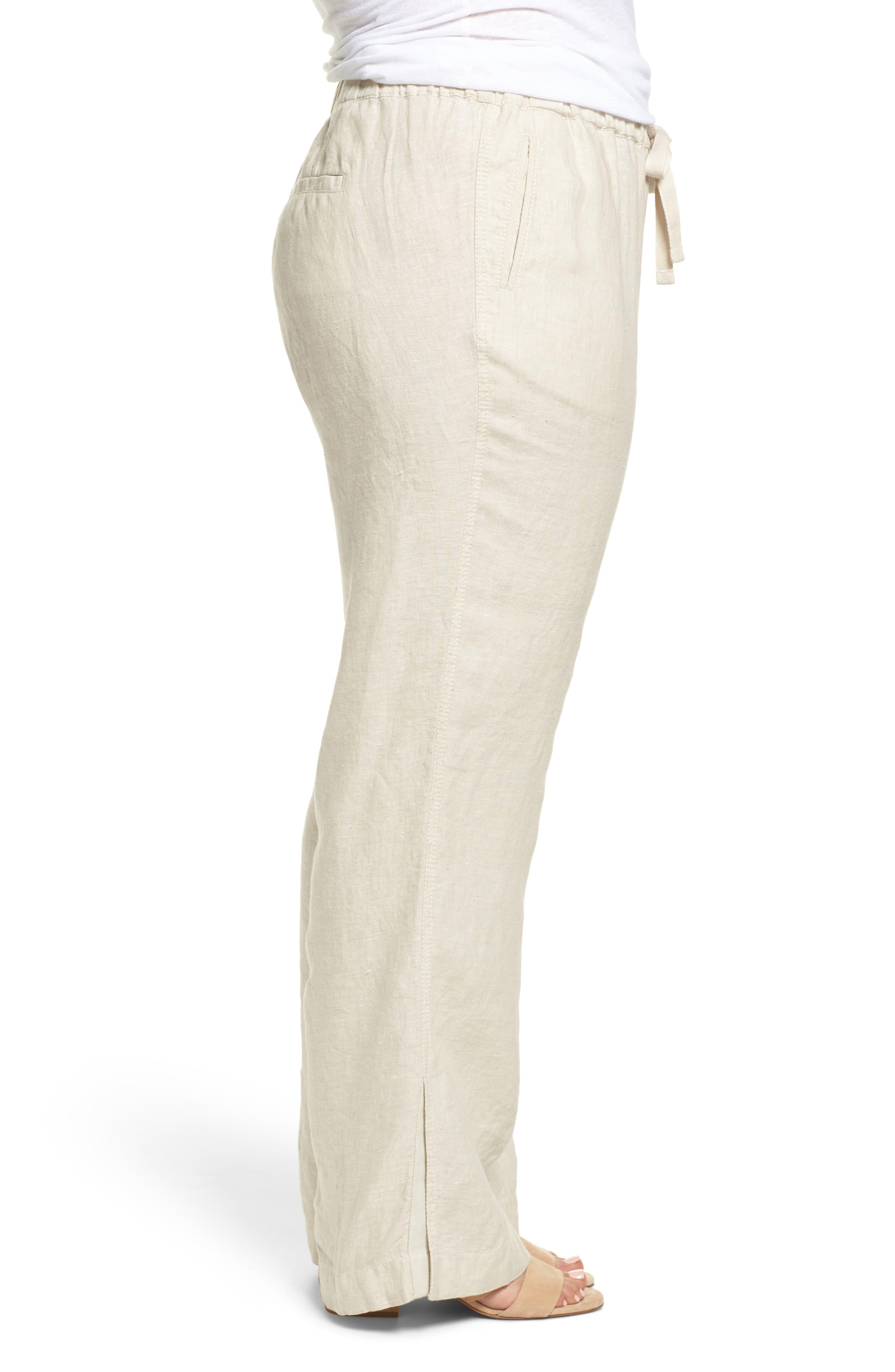 Linen Track Pants,                             Alternate thumbnail 3, color,                             Flax