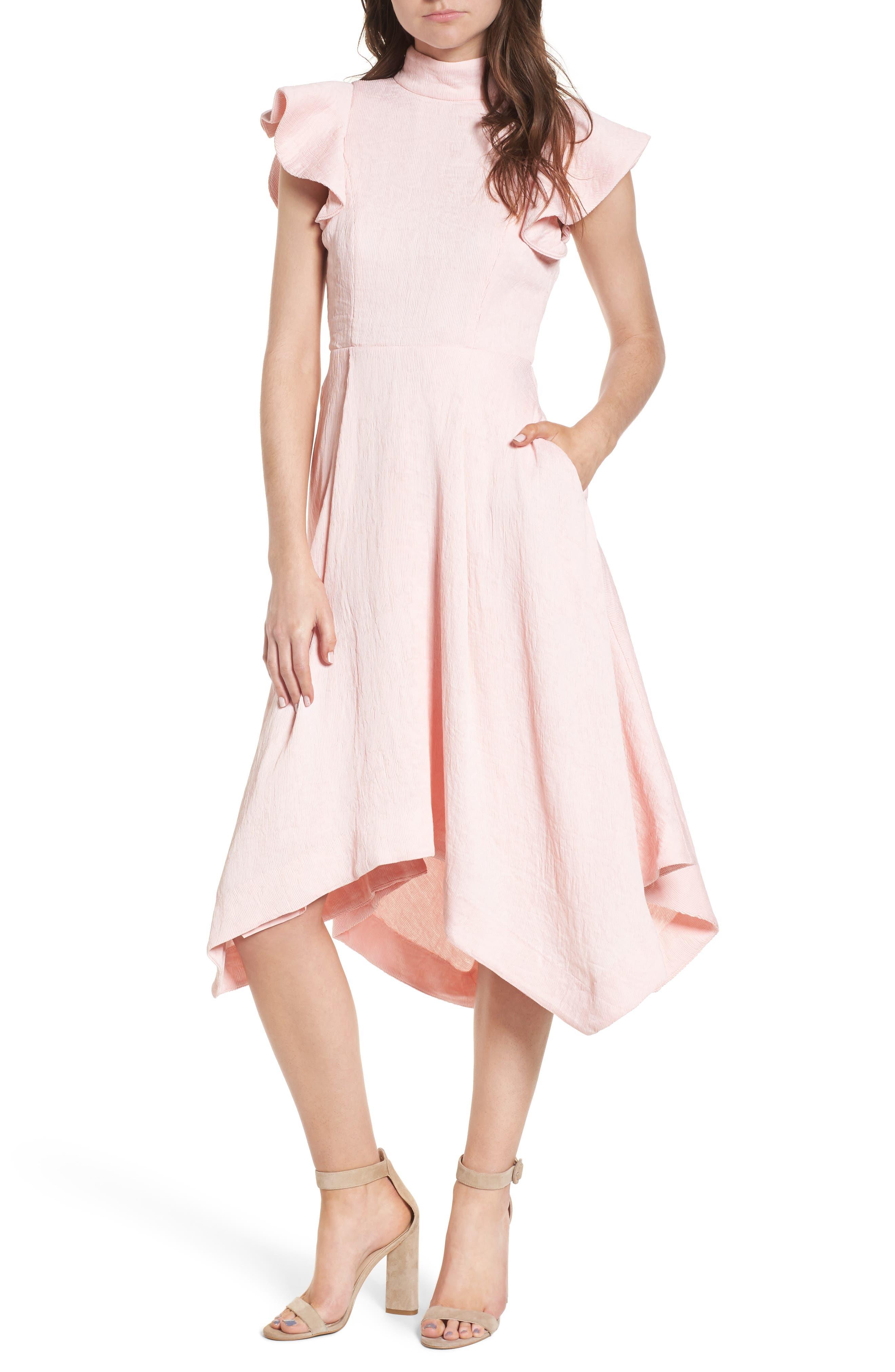 Arcadia Handkerchief Hem Dress,                         Main,                         color, Peach