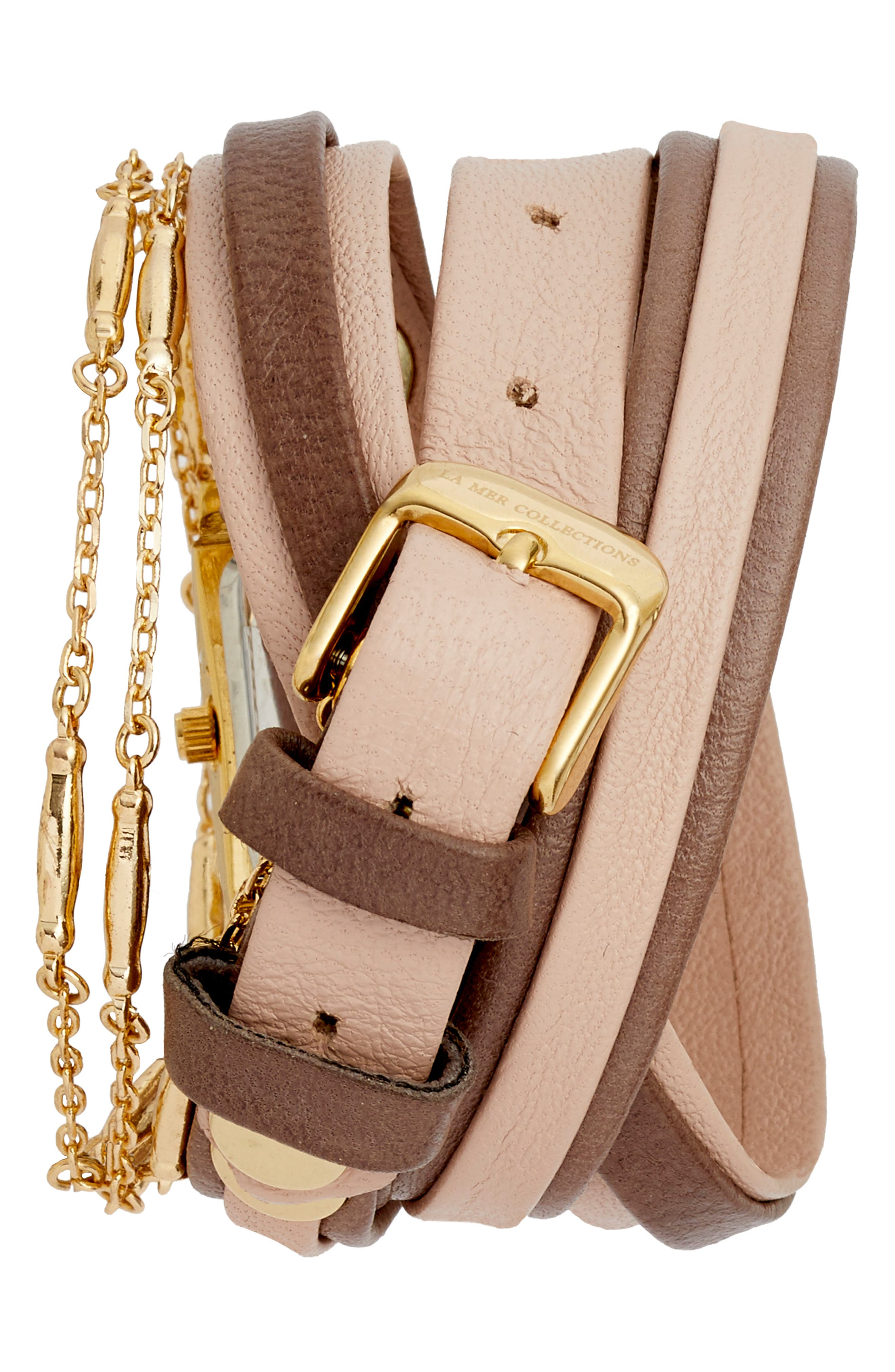 Leather & Lipari Chain Wrap Watch, 25mm,                             Alternate thumbnail 3, color,                             Blush/ Grey/ Gold