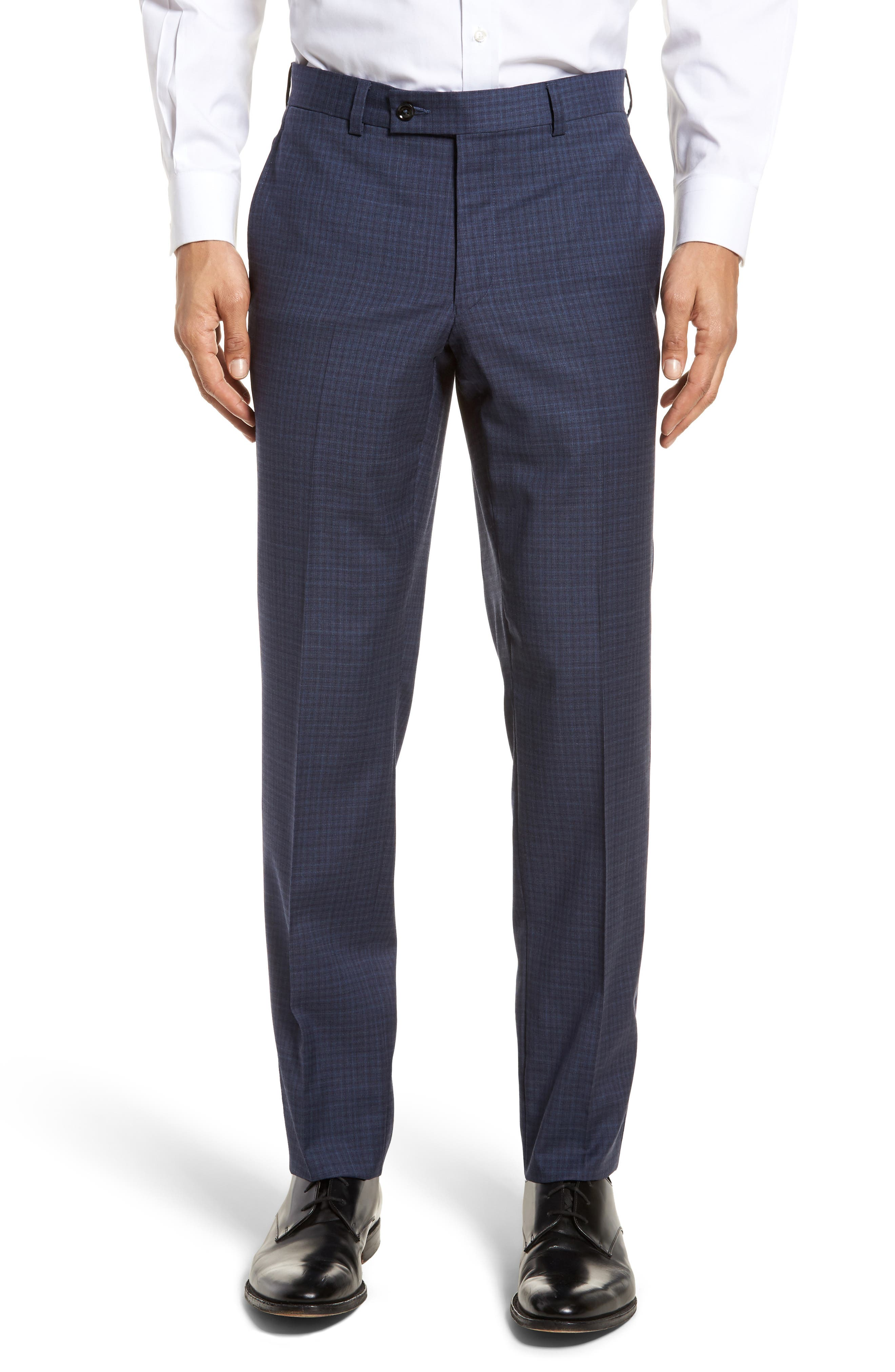 Jefferson Flat Front Check Wool Trousers,                         Main,                         color, Blue