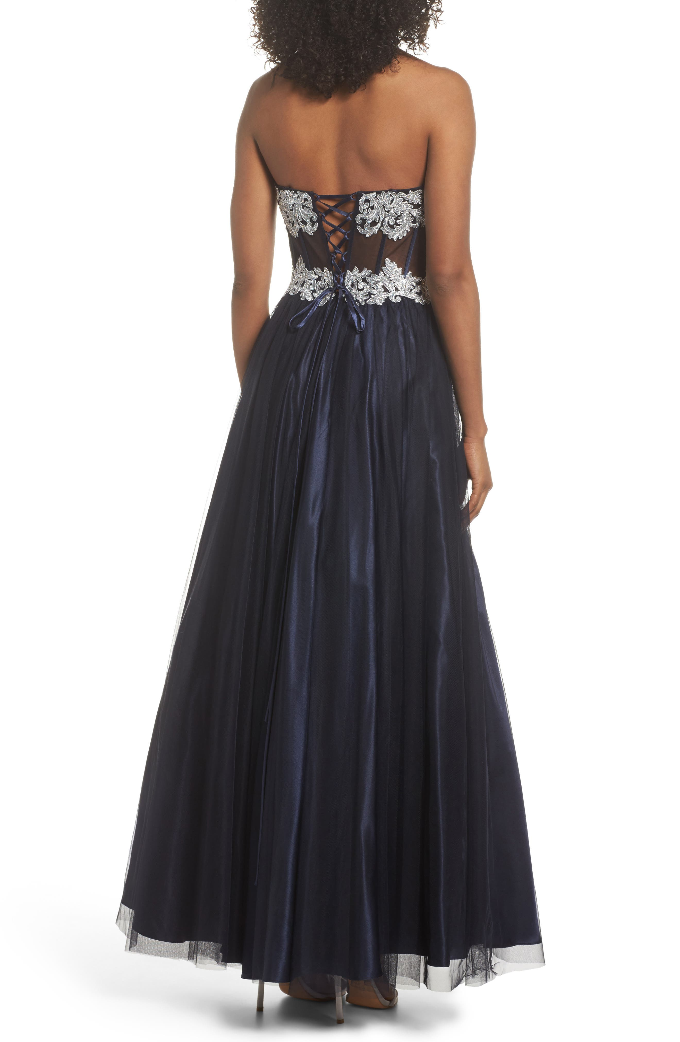 Embellished Corset Ballgown,                             Alternate thumbnail 2, color,                             Navy/ Silver