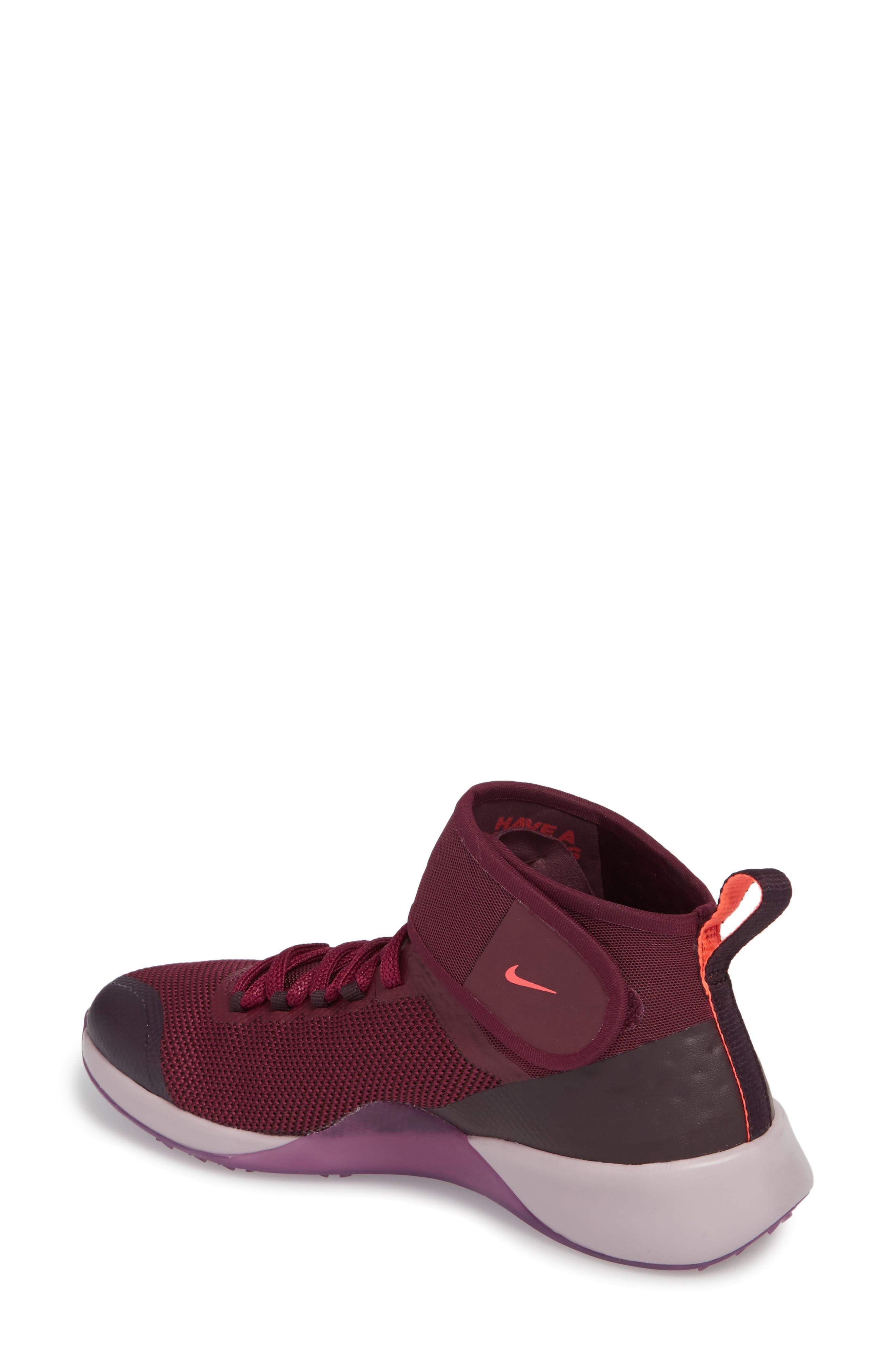 Air Zoom Strong 2 Gem Training Shoe,                             Alternate thumbnail 2, color,                             Bordeaux/ Metallic Pewter