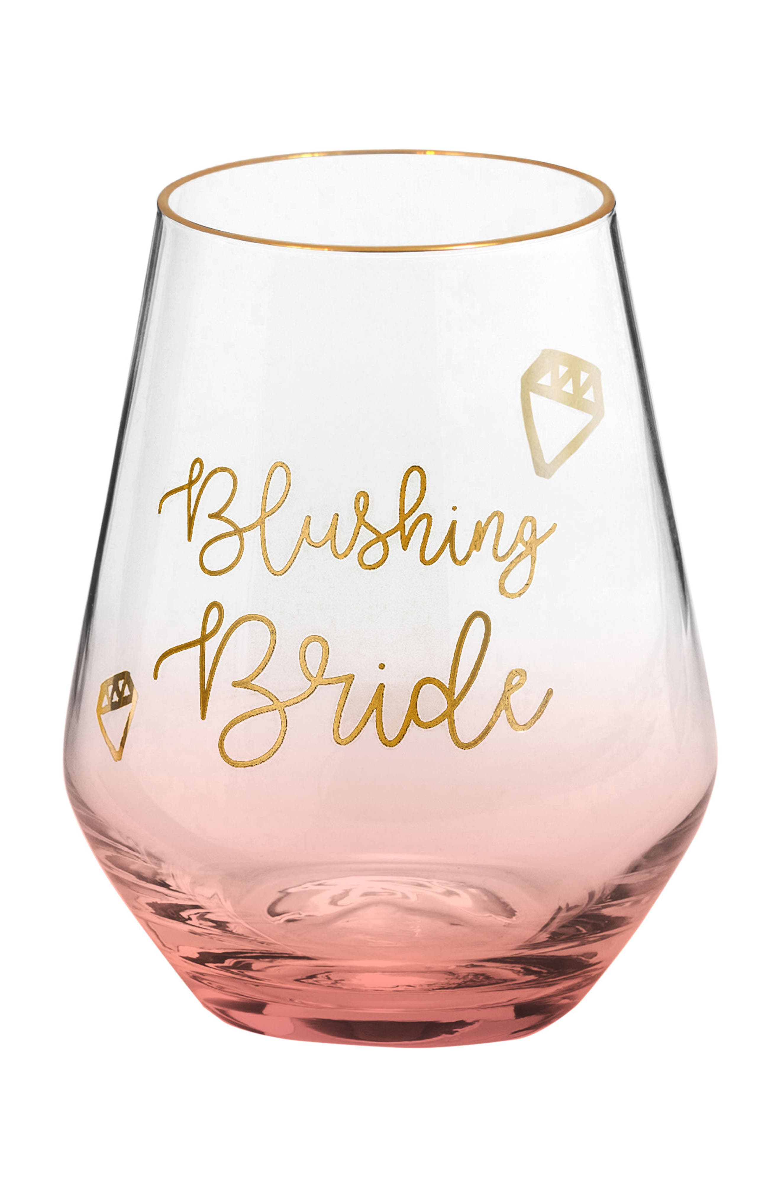 Blushing Bride Stemless Wine Glass,                             Main thumbnail 1, color,                             Pink Gold