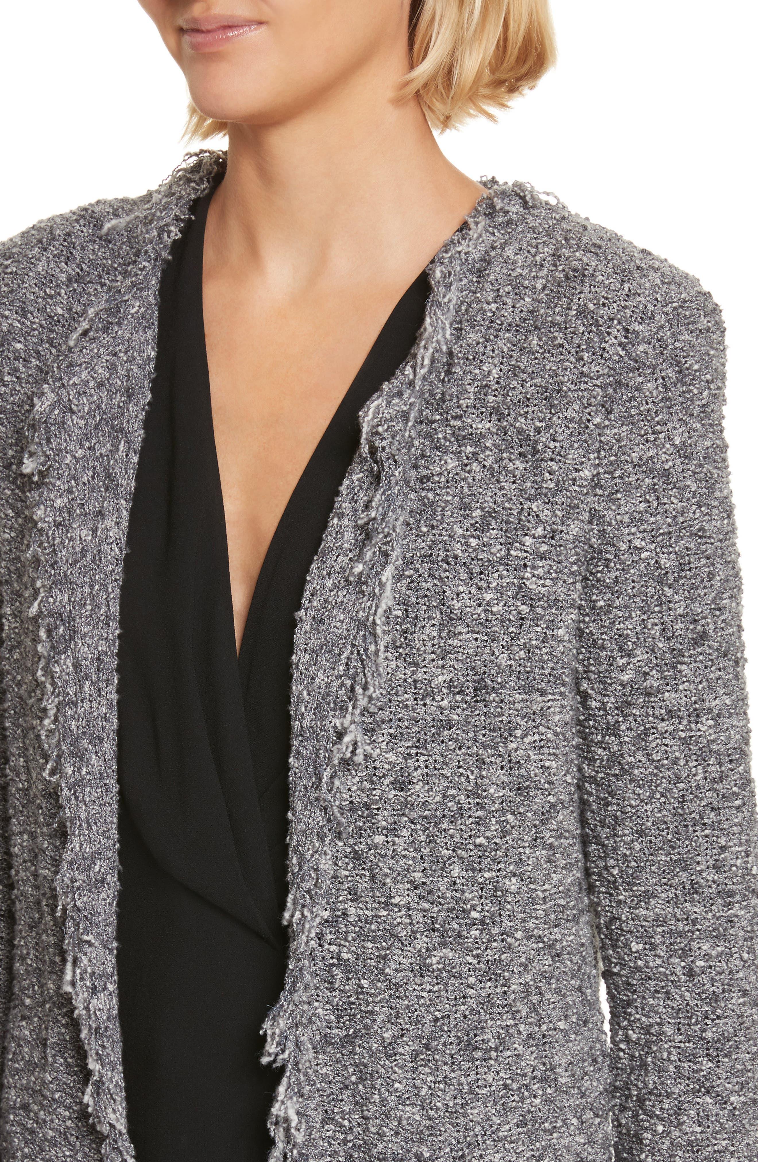 Shavanix Tweed Jacket,                             Alternate thumbnail 4, color,                             Dark Grey