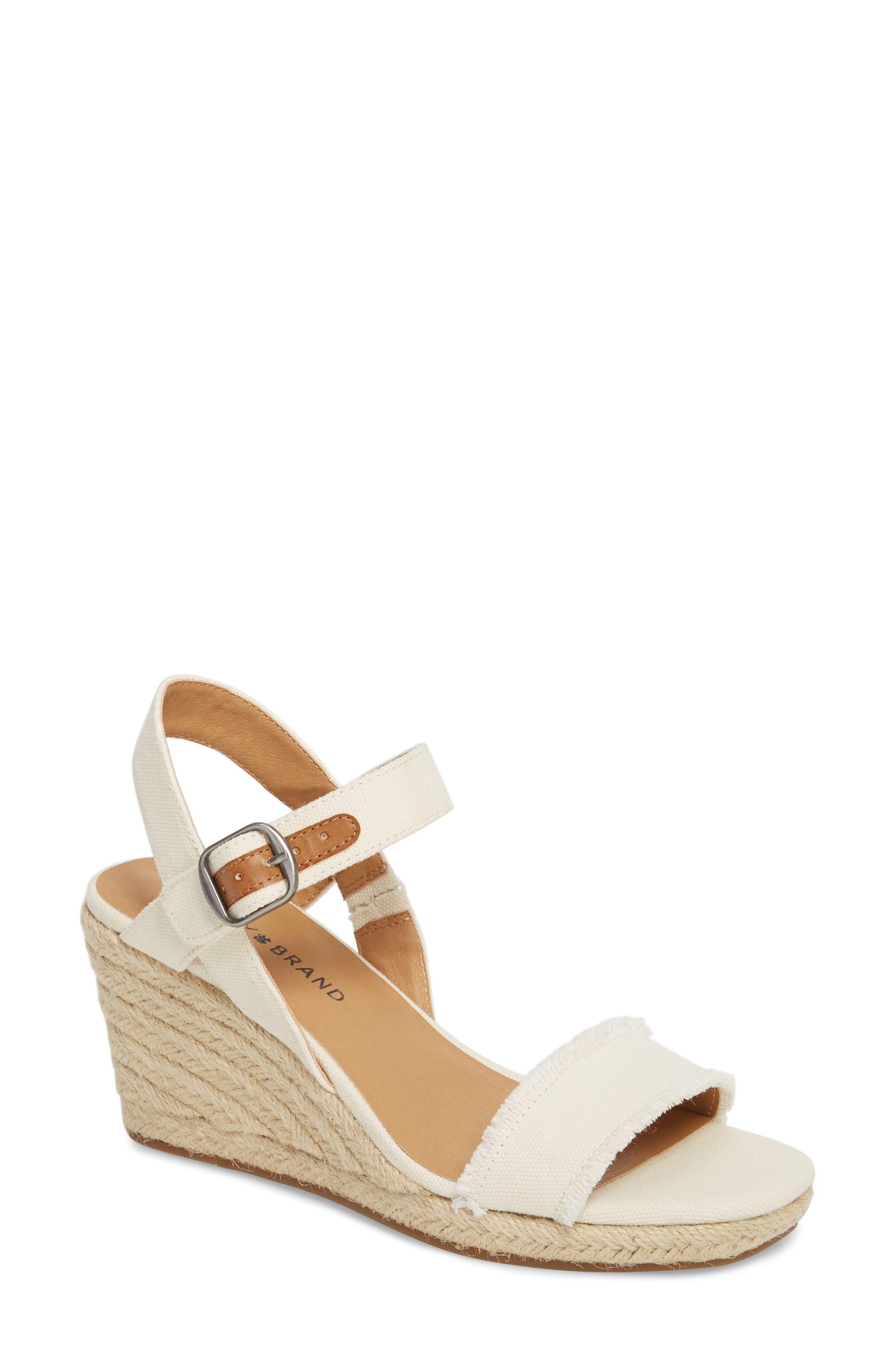 Alternate Image 1 Selected - Lucky Brand Marceline Squared Toe Wedge Sandal (Women)