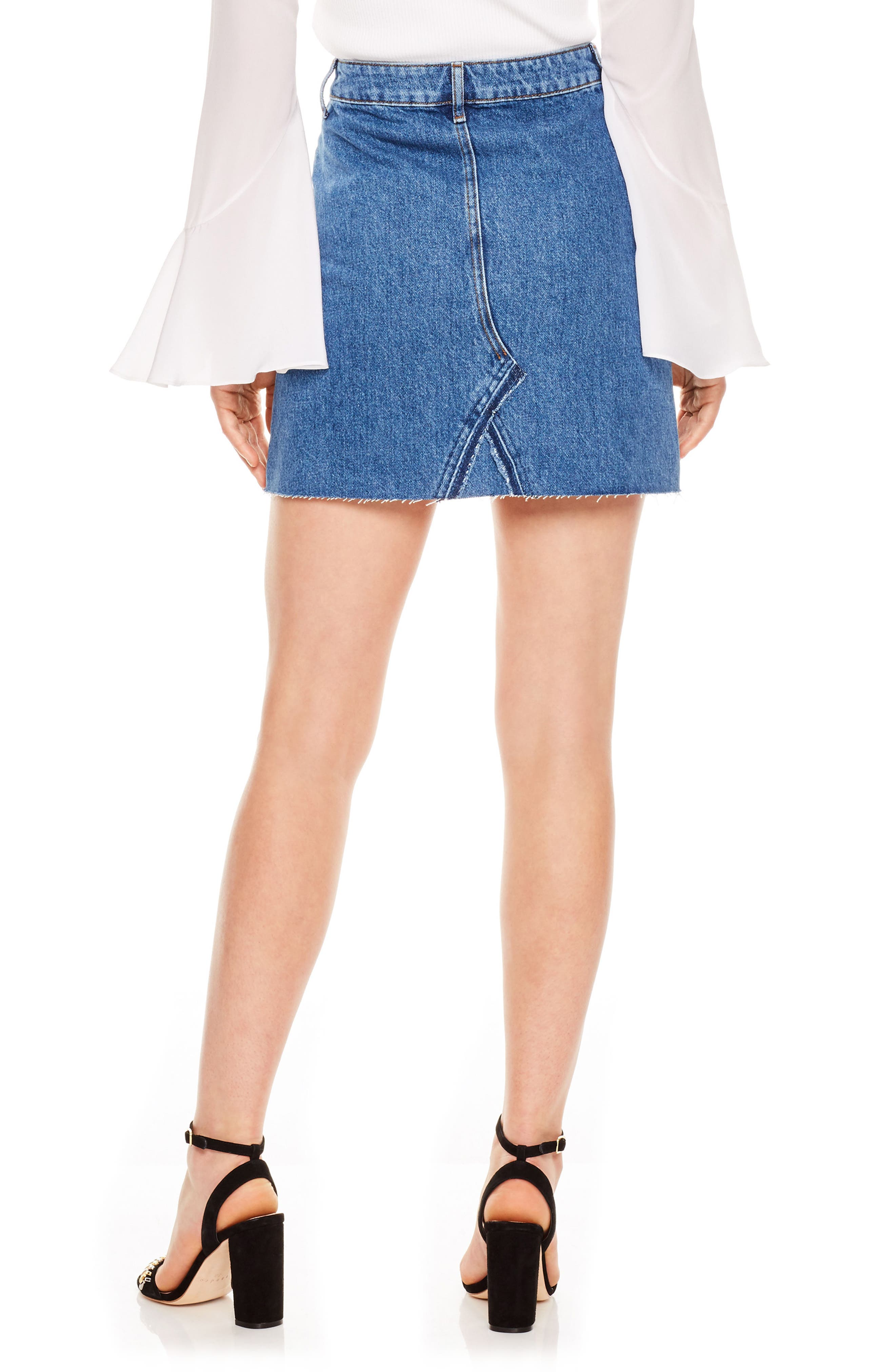 Blue Vintage Denim Skirt,                             Alternate thumbnail 2, color,                             Blue