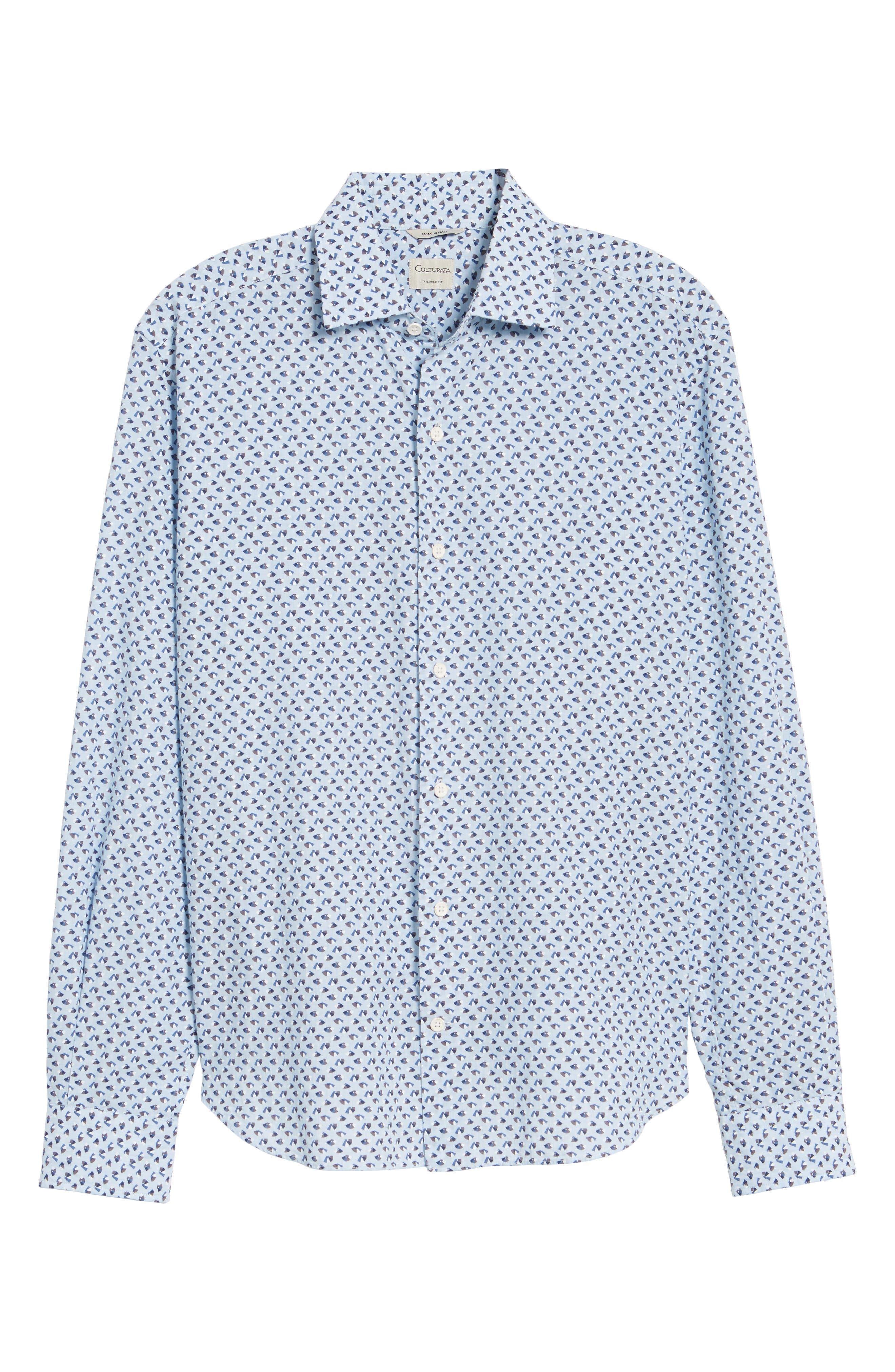 Slim Fit Print Cotton & Linen Sport Shirt,                             Alternate thumbnail 6, color,                             Blue