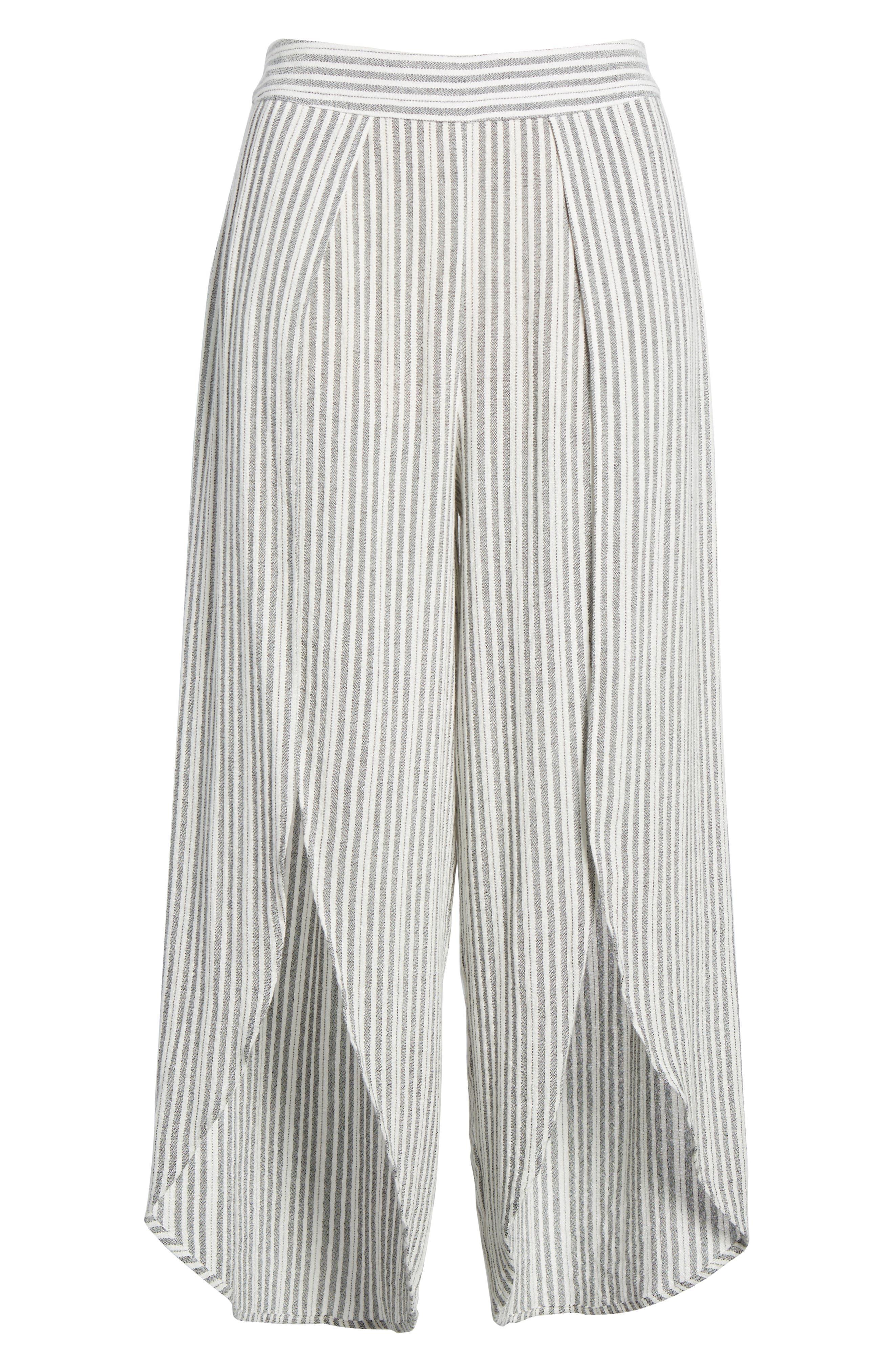 Kika Stripe Split Culottes,                             Alternate thumbnail 7, color,                             Grey