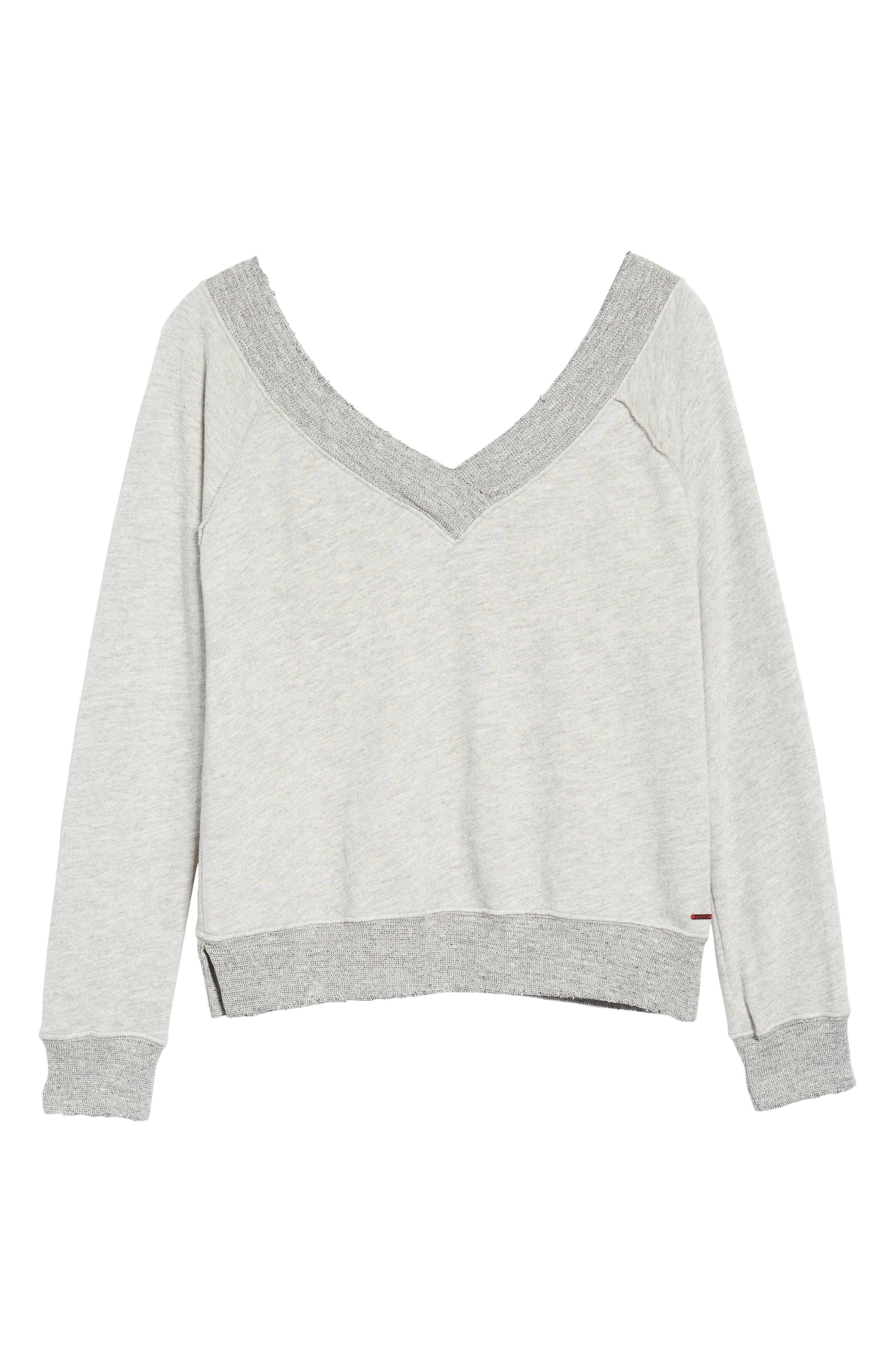 Mayer V-Neck Sweatshirt,                             Alternate thumbnail 6, color,                             Heather Grey