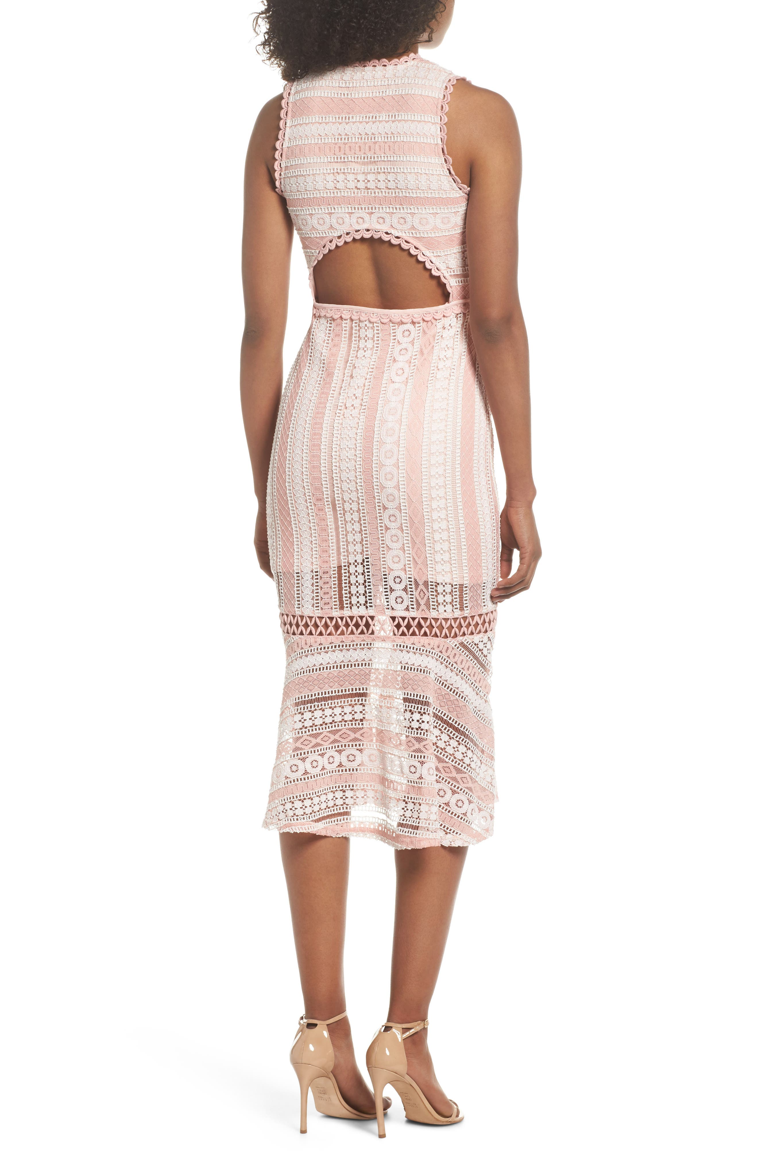 Clarinda Lace Midi Dress,                             Alternate thumbnail 2, color,                             Pink