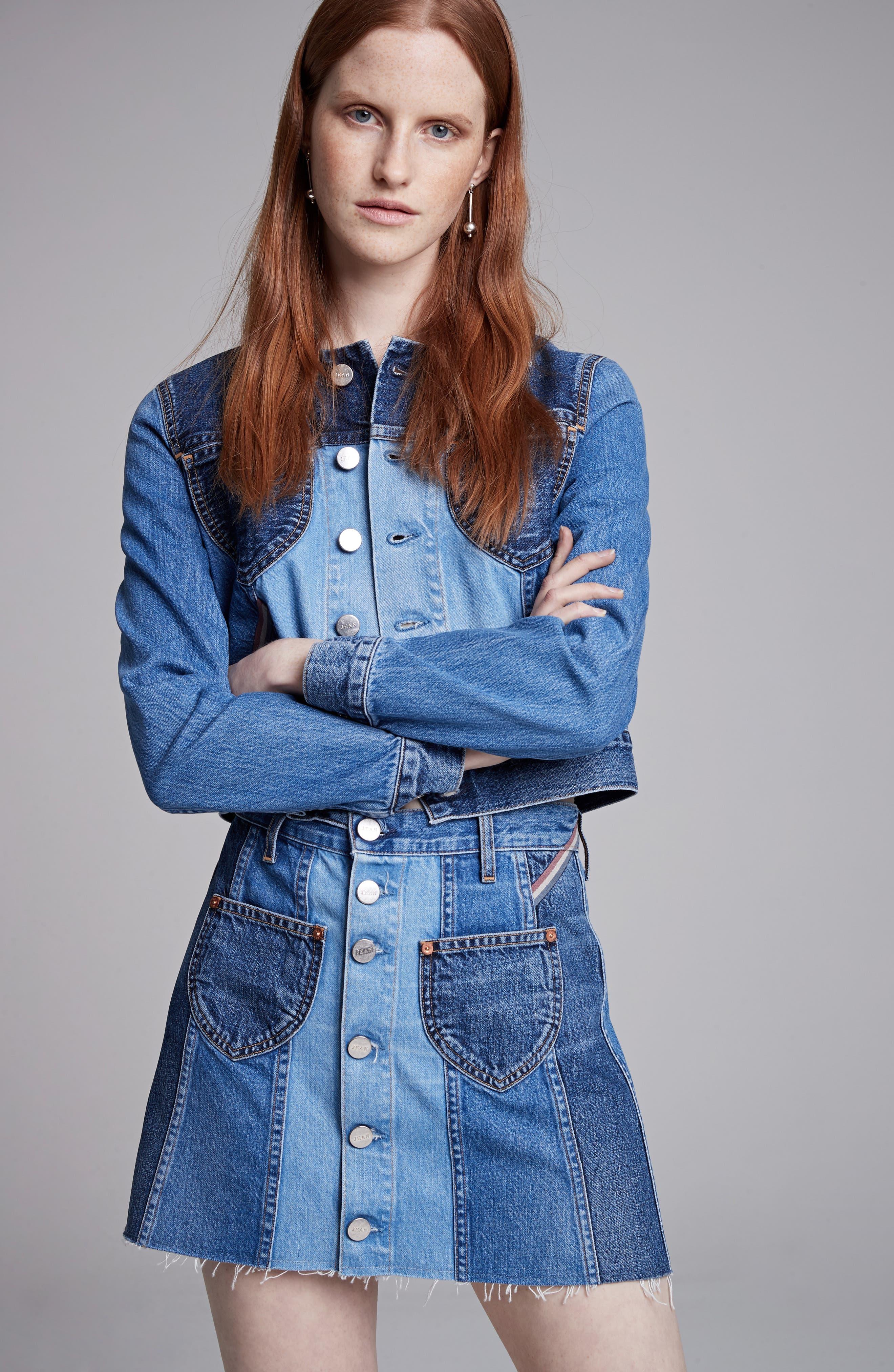 Alternate Image 2  - Jean Atelier Eloise High Rise Denim Miniskirt