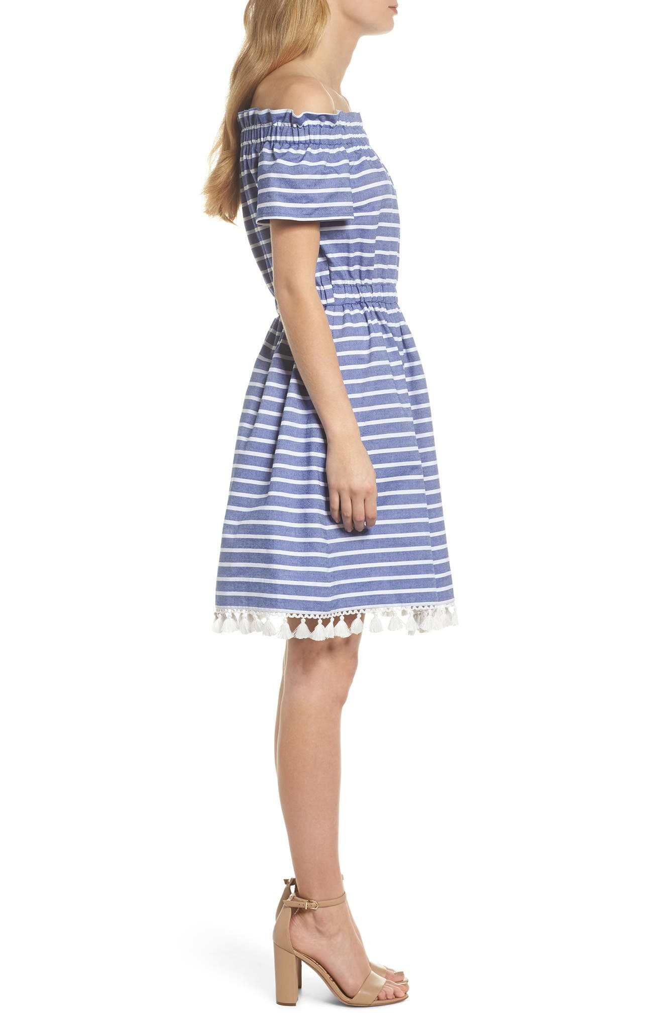 Stripe Off the Shoulder Dress,                             Alternate thumbnail 3, color,                             Navy/ Ivory