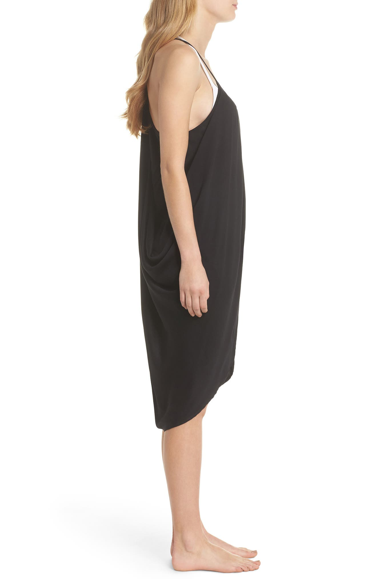 California Core Pali Wrap Cover-Up Dress,                             Alternate thumbnail 3, color,                             Black