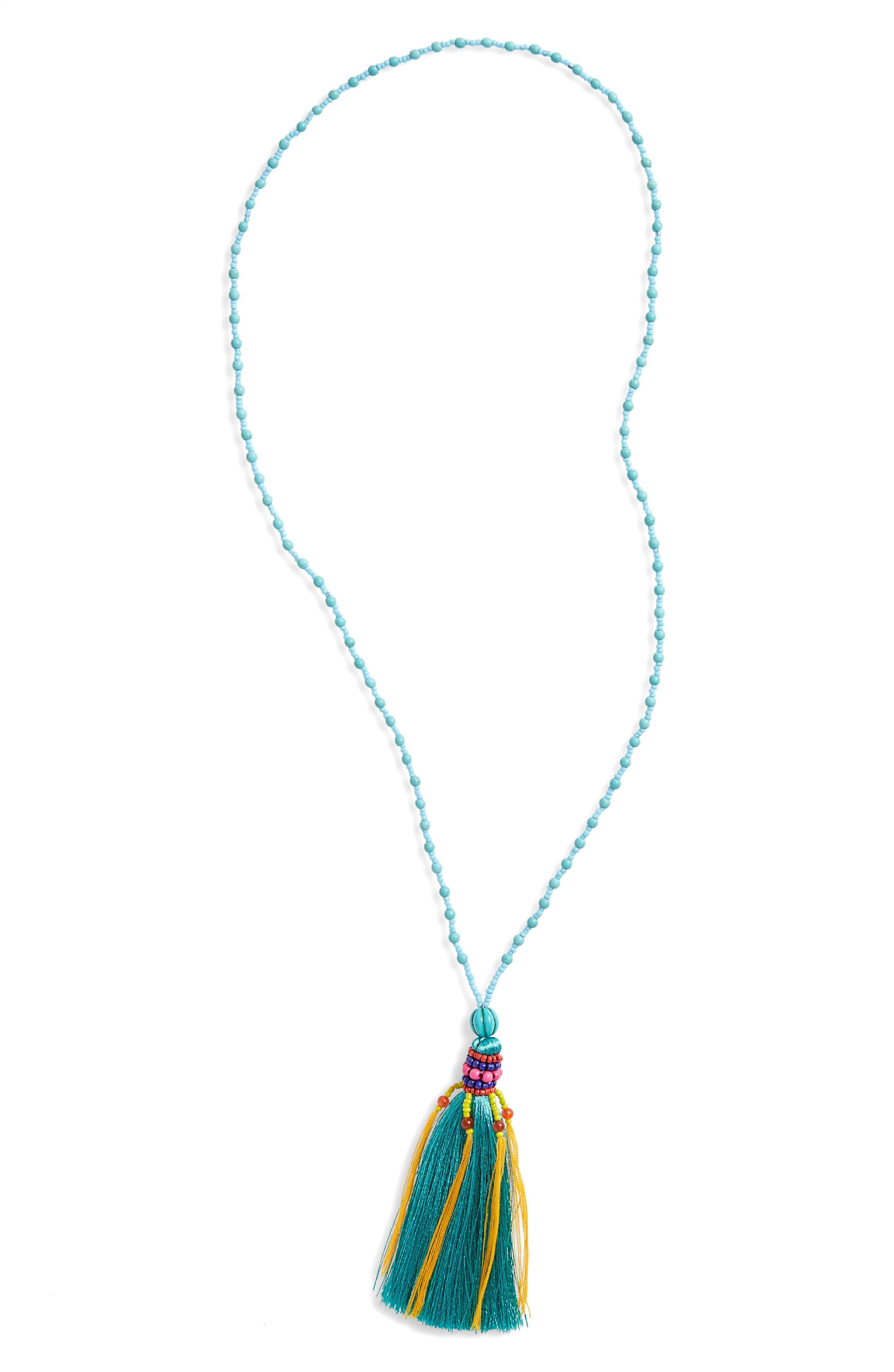 Tassel Pendant Necklace,                         Main,                         color, Blue Multi
