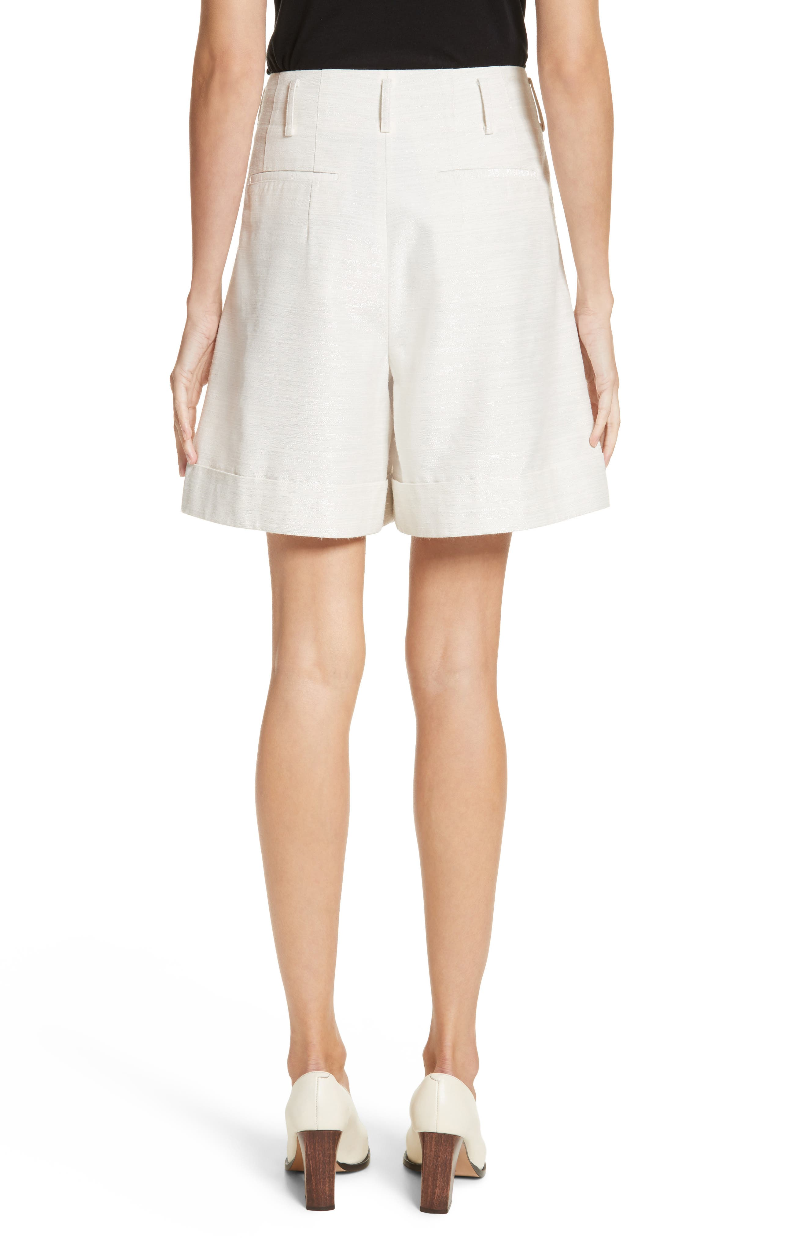 Sparkle Woven Wide Leg Shorts,                             Alternate thumbnail 2, color,                             Ivory