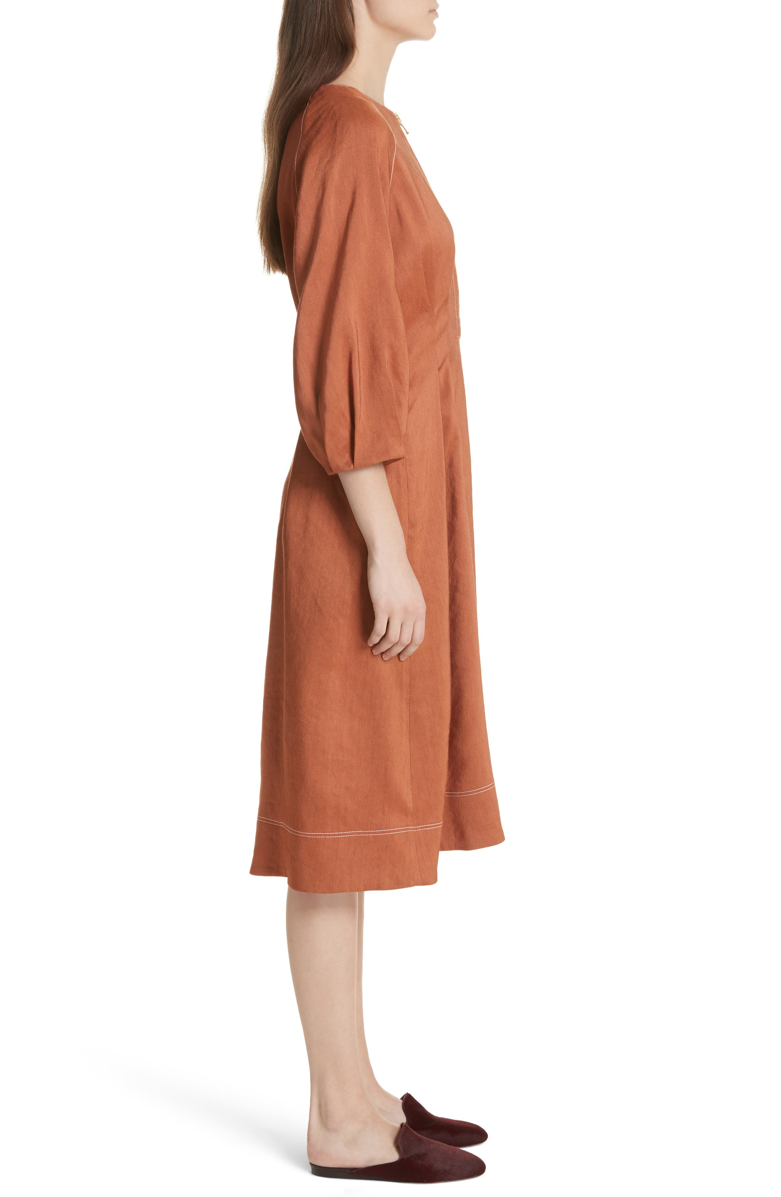 Alternate Image 4  - Veronica Beard Claudia Linen Blend Midi Dress
