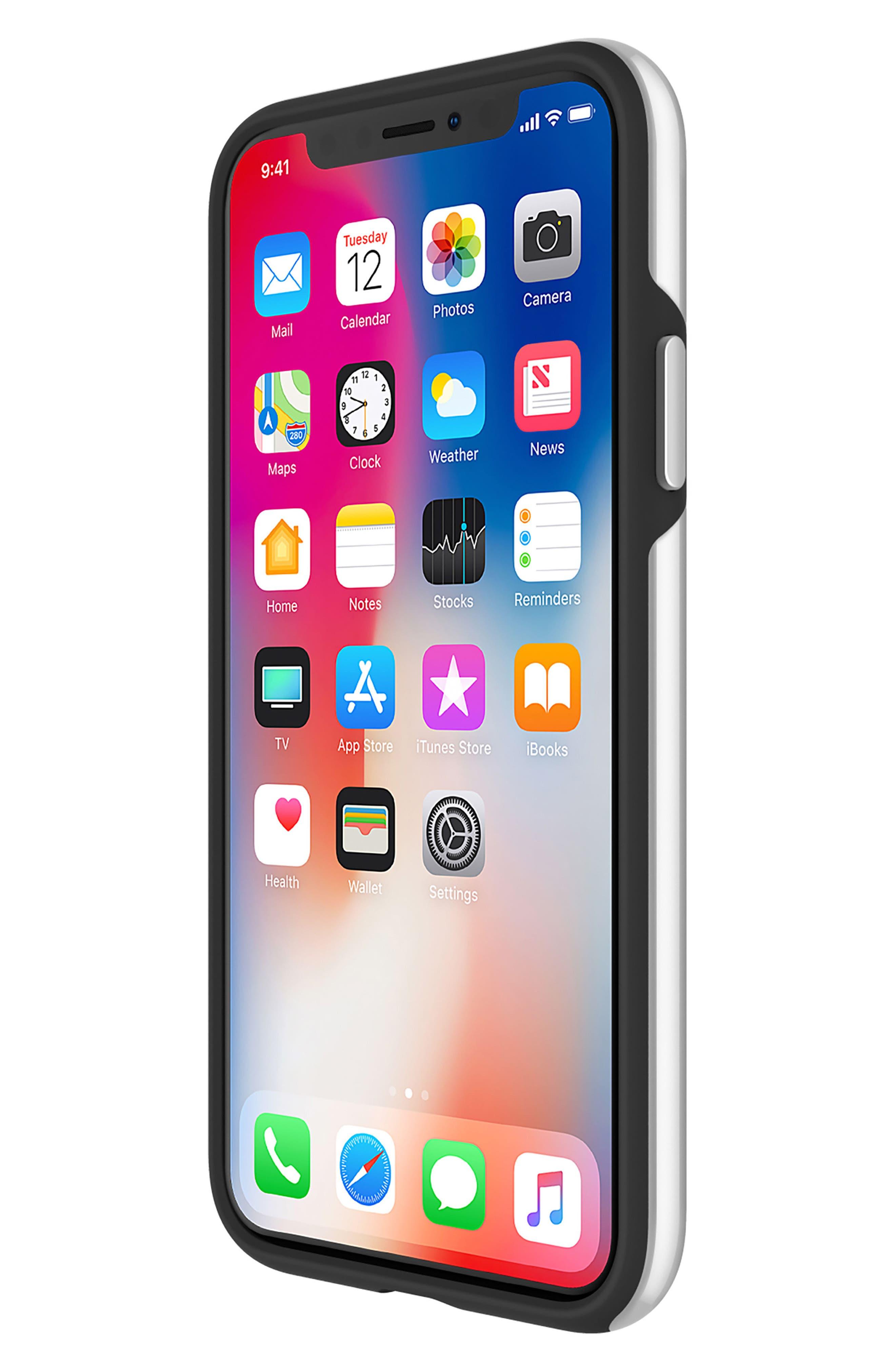 Inlay Jem Leather iPhone X Case,                             Alternate thumbnail 4, color,                             Multi Gems/ Studs/ Black
