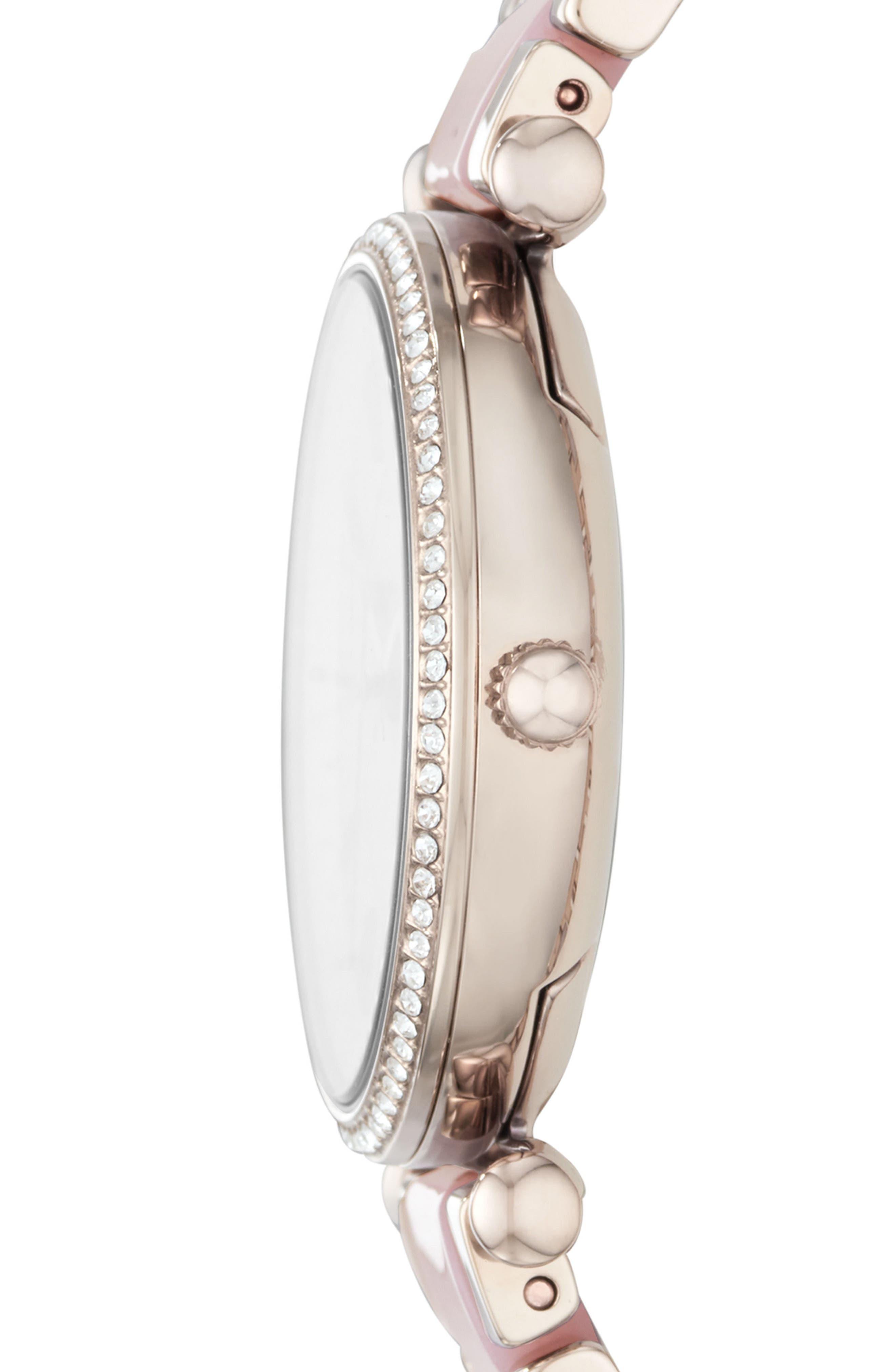 Carlie Crystal Accent T-Bar Bracelet Watch, 35mm,                             Alternate thumbnail 2, color,                             Pink