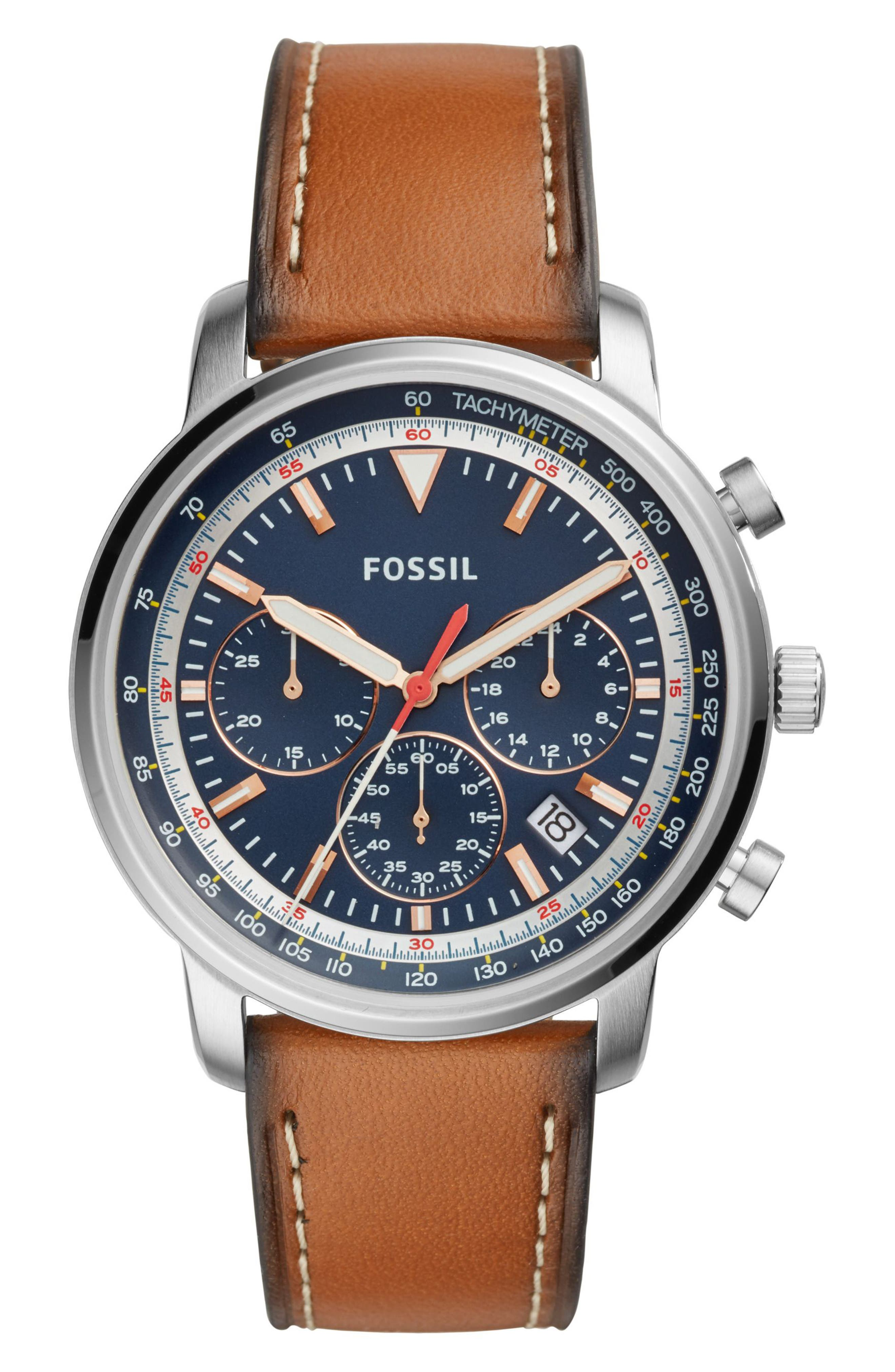 Fossil Goodwin Chronograph Leather Strap Watch, 44mm