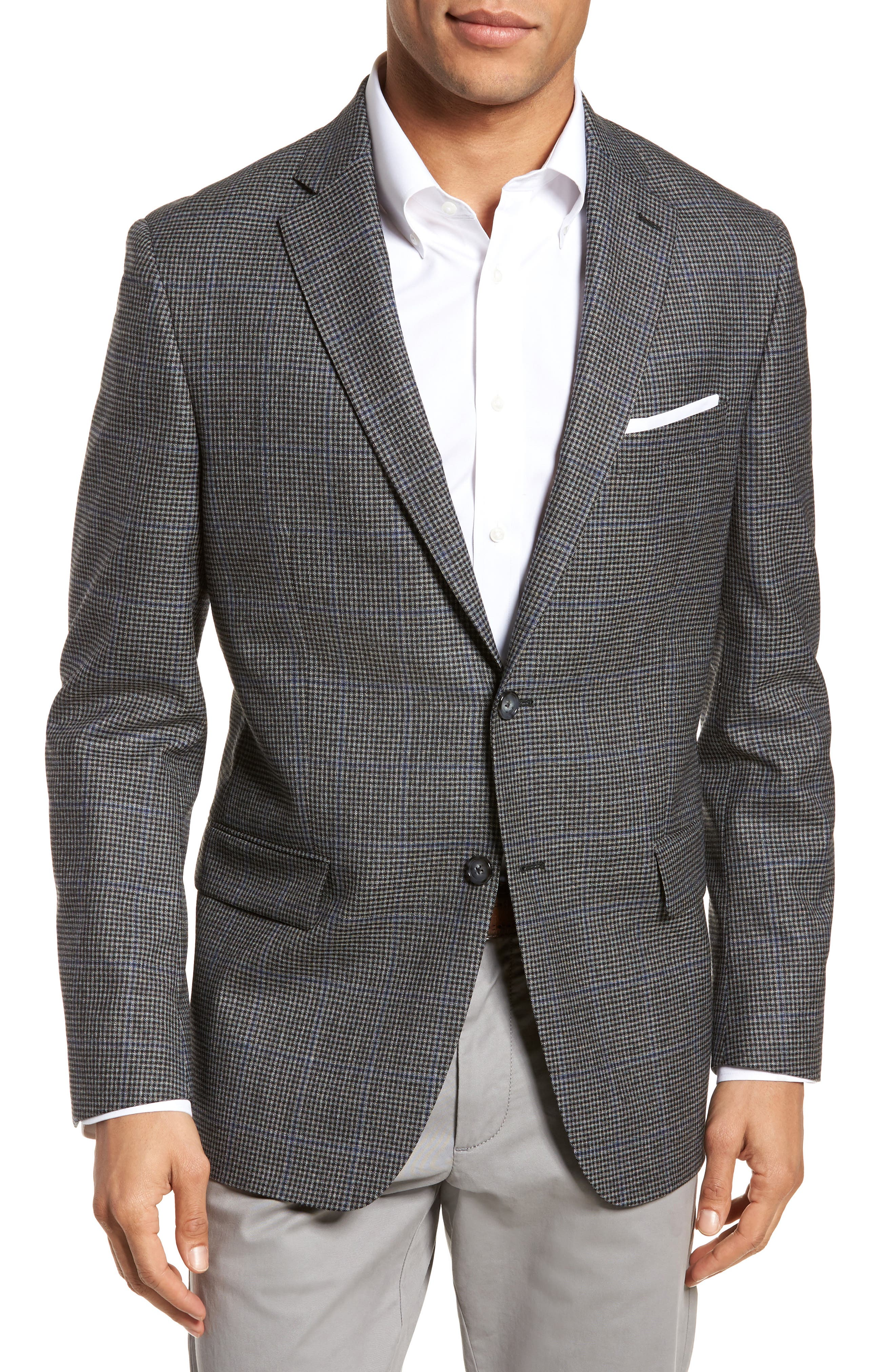 Classic Fit Stretch Check Wool Sport Coat,                             Main thumbnail 1, color,                             Grey