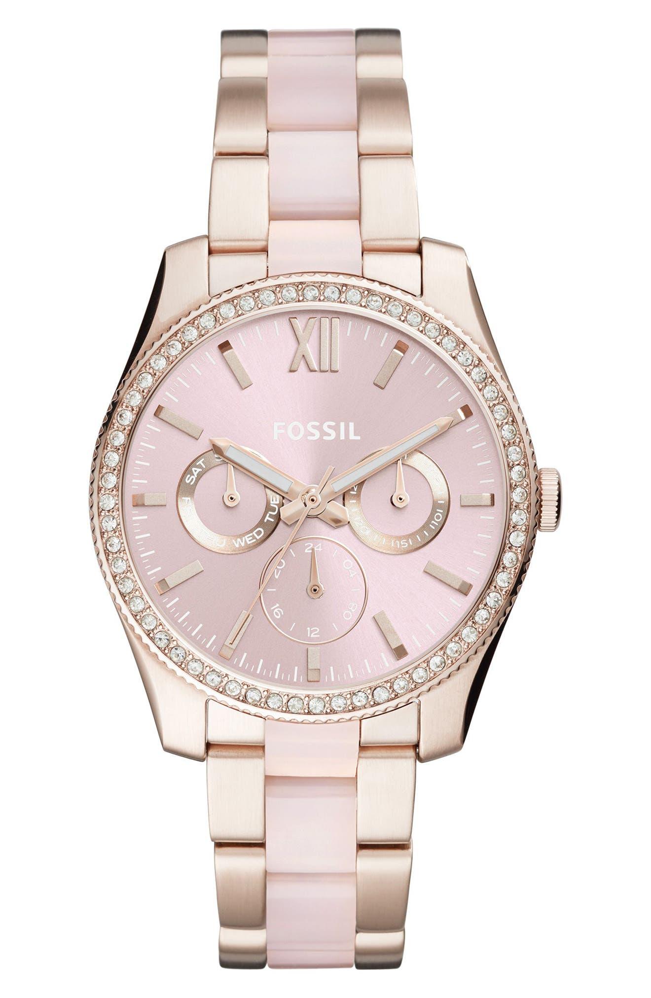 Fossil Scarlette Crystal Multifunction Bracelet Watch, 38mm