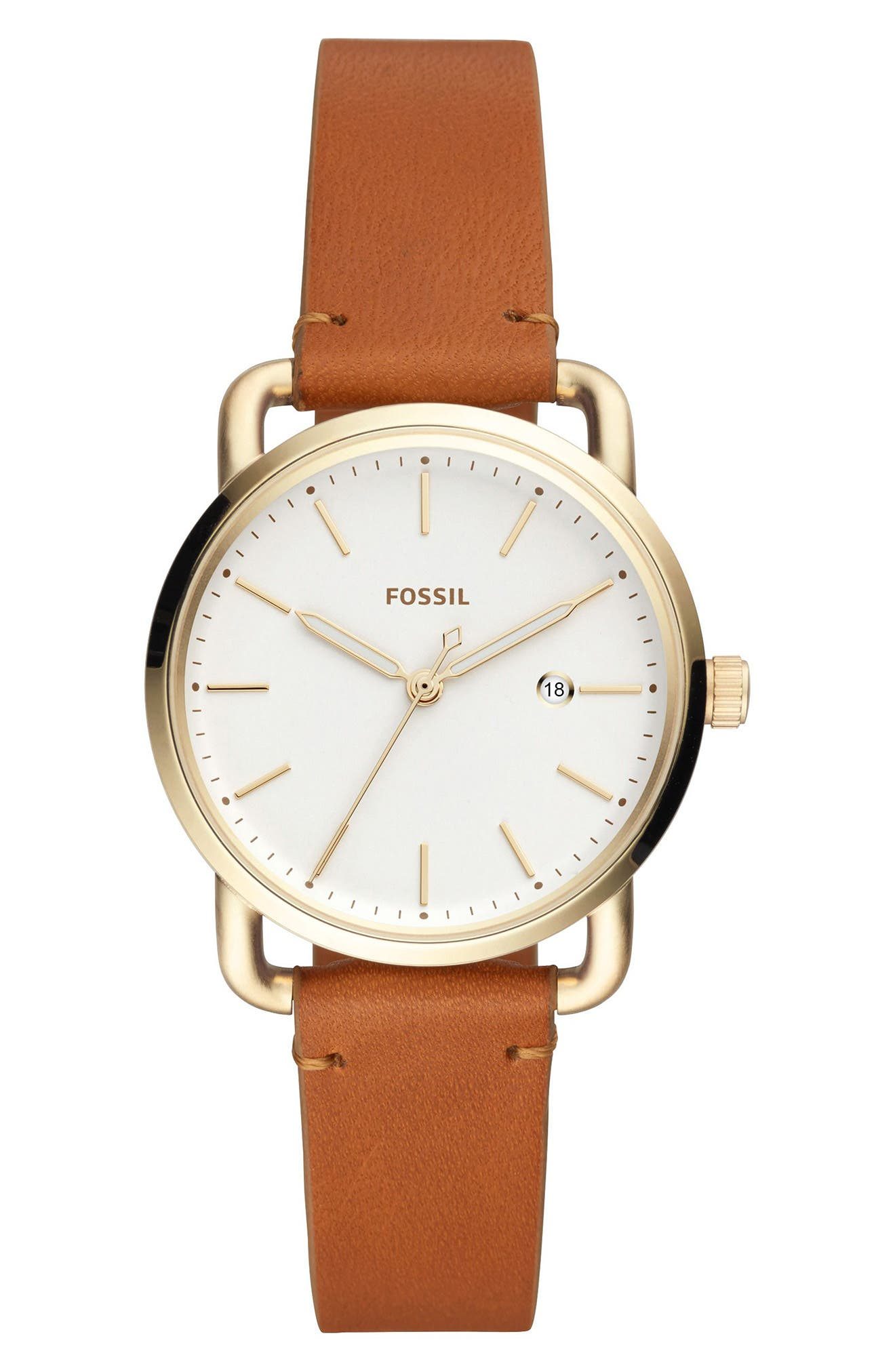 Commuter Leather Strap Watch, 34mm,                         Main,                         color, Brown/ White/ Gold