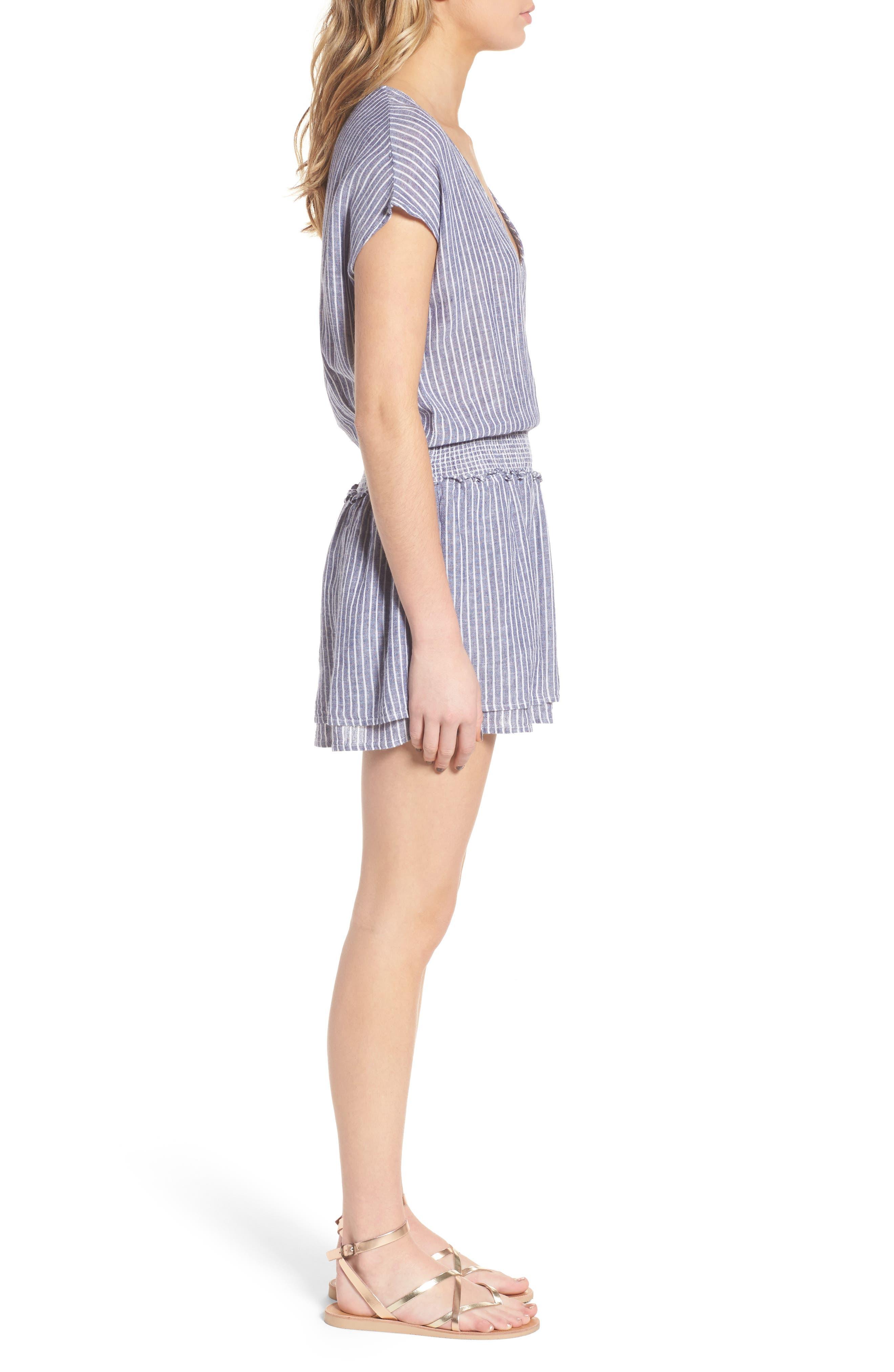 Lucca Linen Blend Dress,                             Alternate thumbnail 3, color,                             Terrenas Stripe
