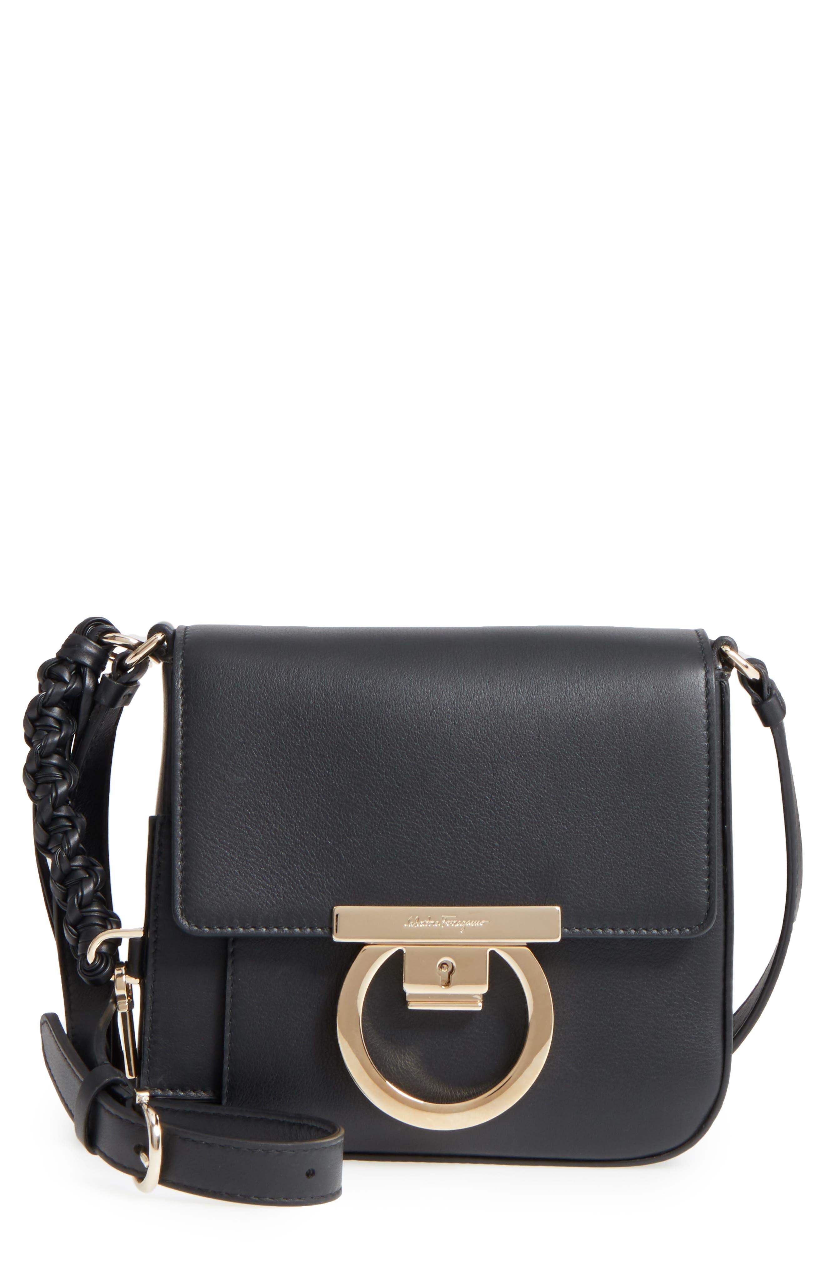 Gancio Lock Leather Crossbody Bag,                             Main thumbnail 1, color,                             Nero