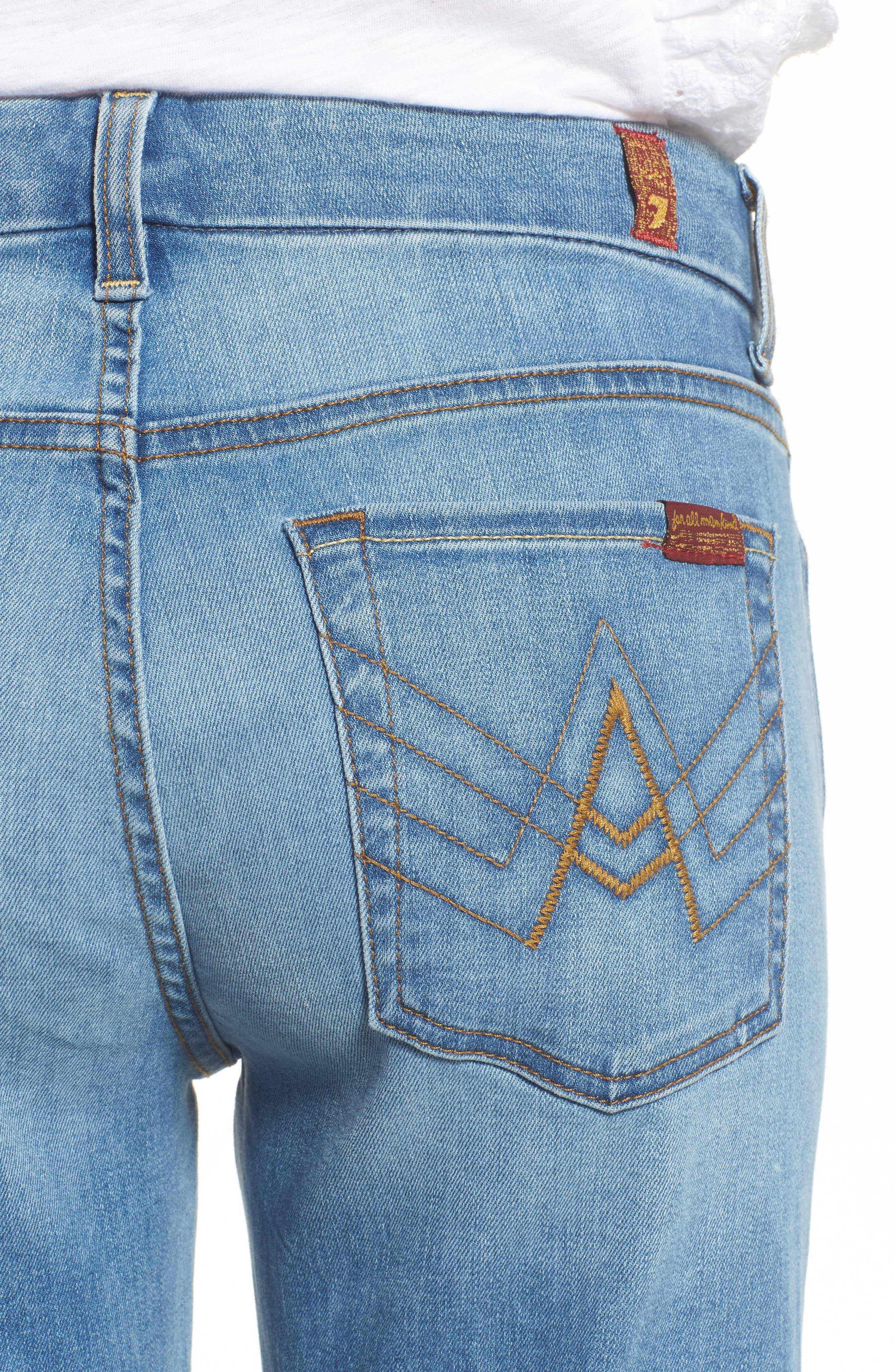 A-Pocket Flare Leg Jeans,                             Alternate thumbnail 4, color,                             Bright Palms