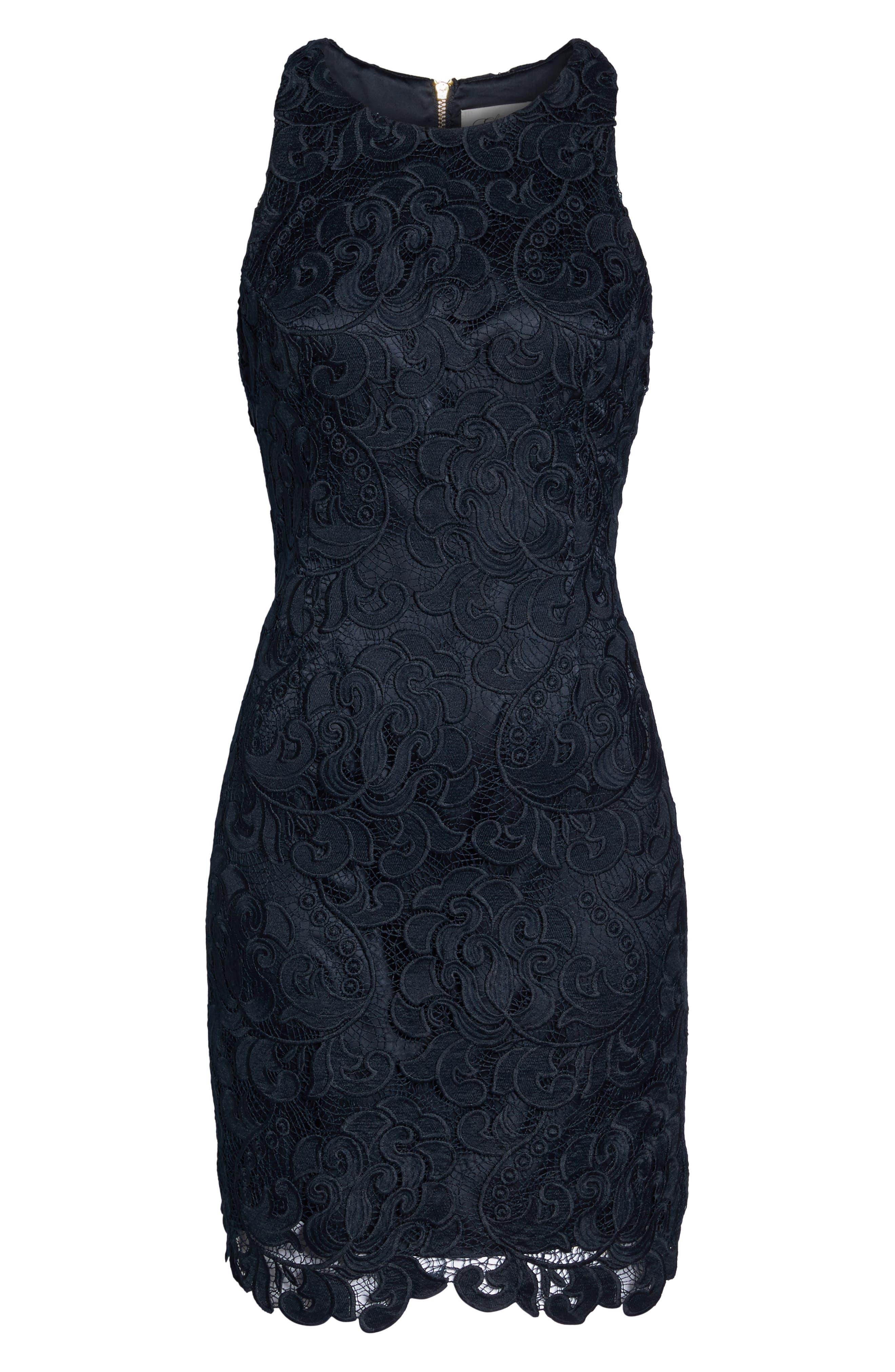 Lace Sheath Dress,                             Alternate thumbnail 4, color,                             Navy