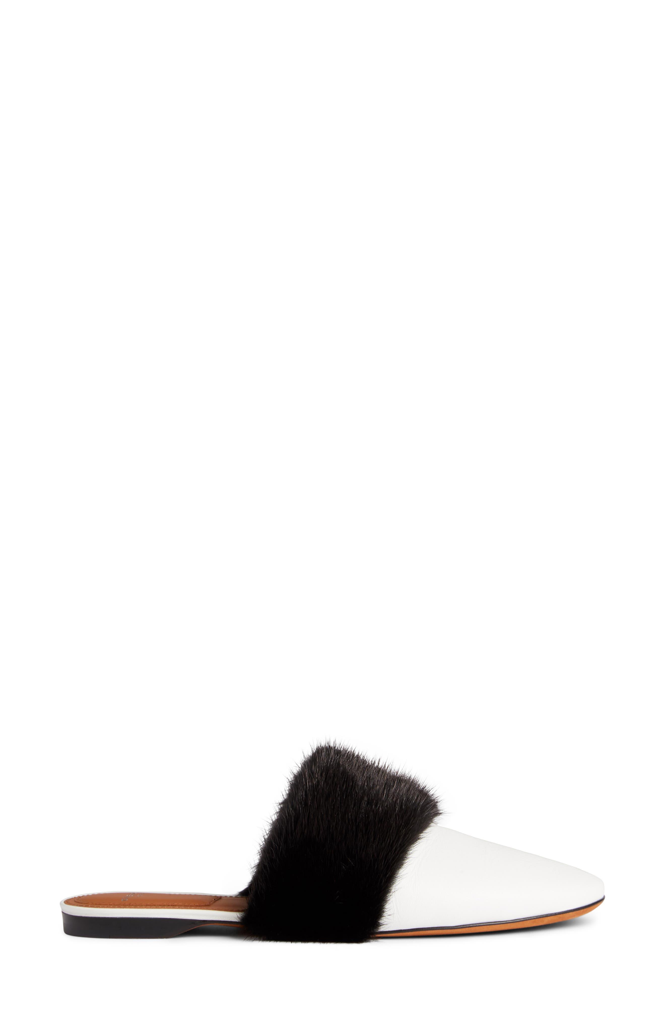 Genuine Mink Fur Mule,                             Alternate thumbnail 3, color,                             White/ Black
