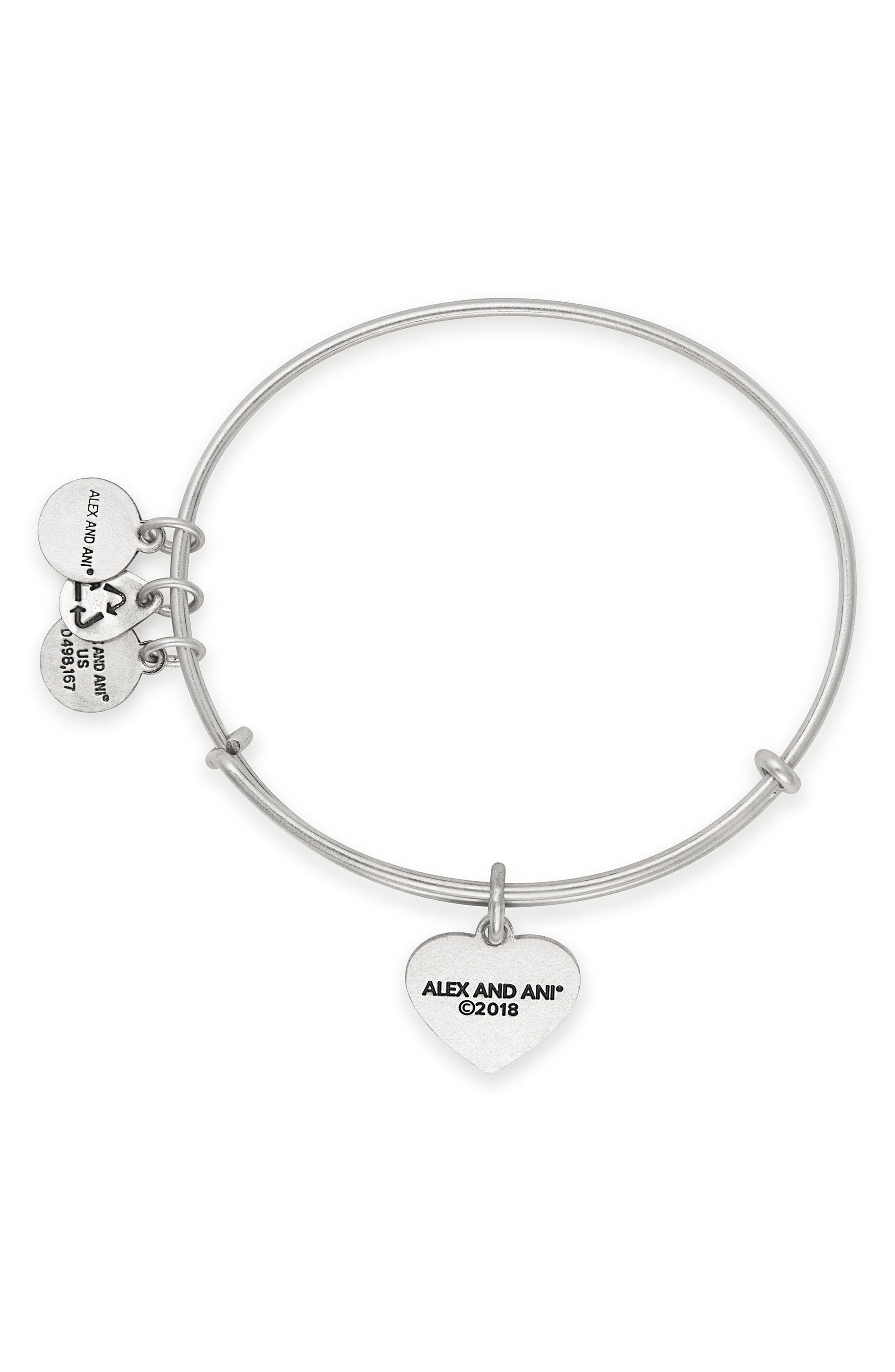 Heart Flag Adjustable Wire Bangle,                             Alternate thumbnail 2, color,                             Silver