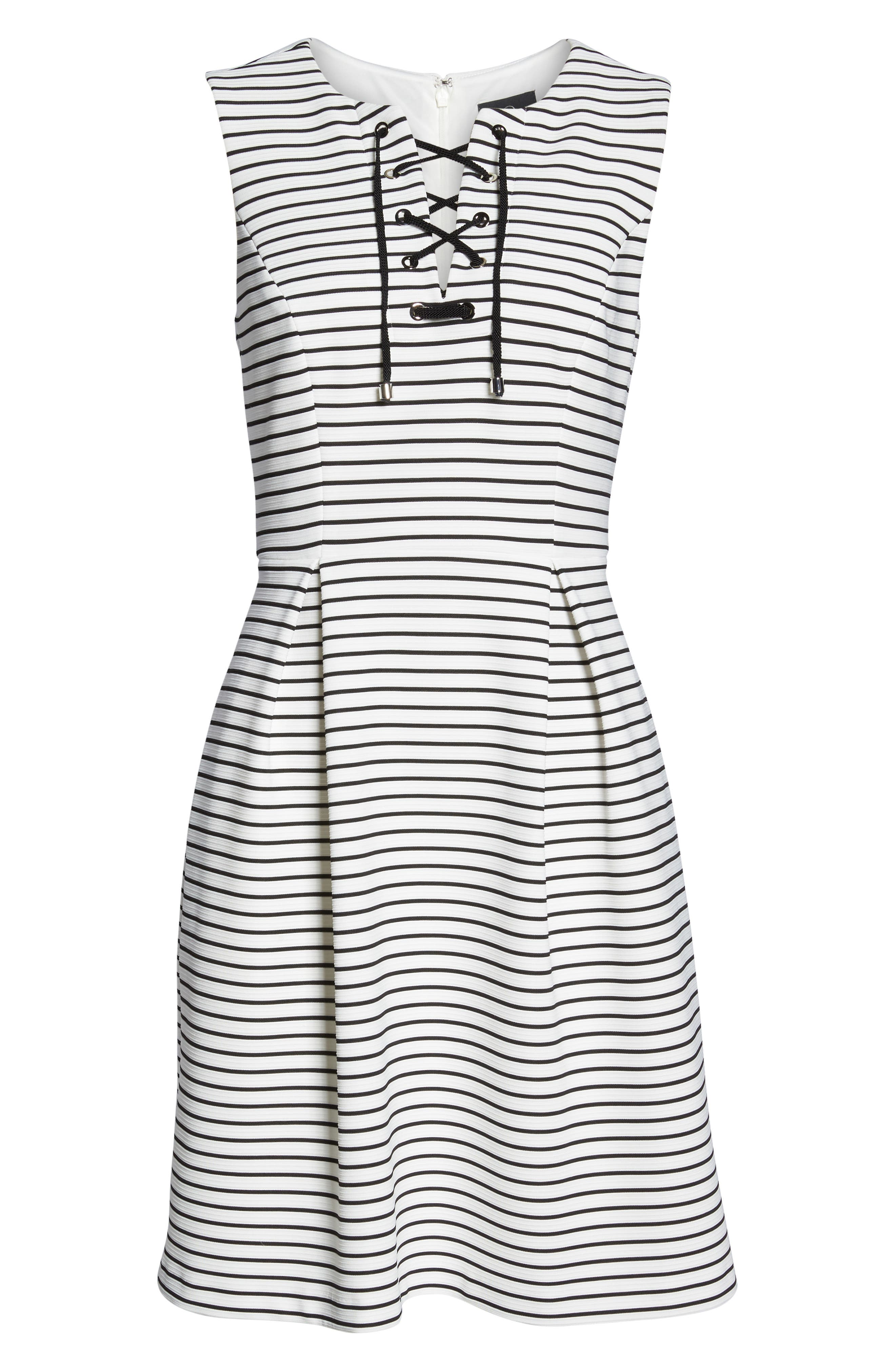 Stripe Fit & Flare Dress,                             Alternate thumbnail 6, color,                             Ivory/ Black