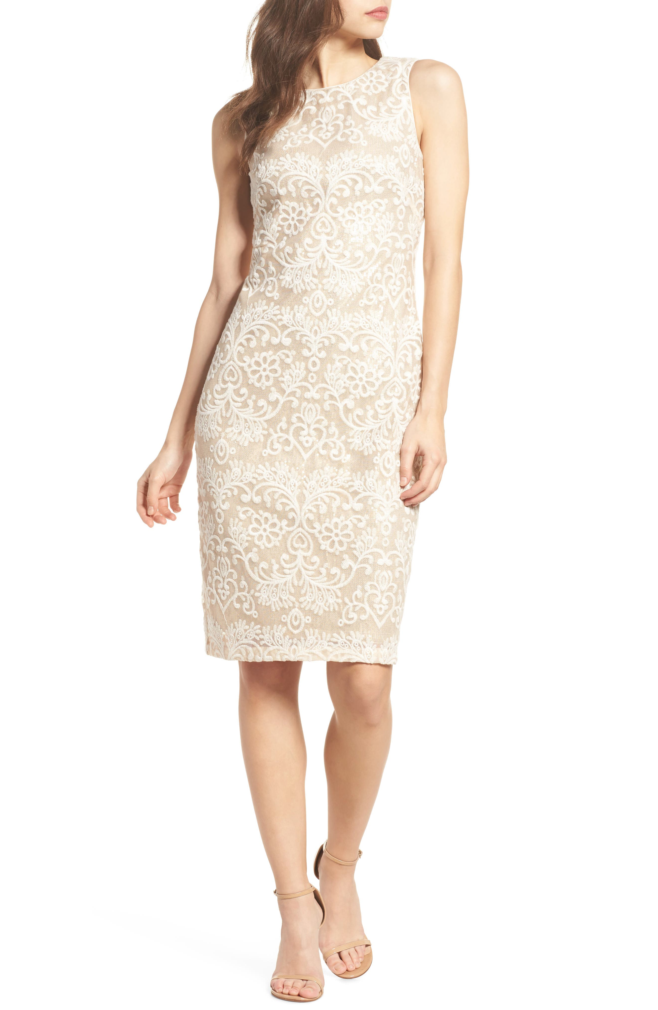 Embroidered Sequin Mesh Sheath Dress,                         Main,                         color, Ivory/ Gold