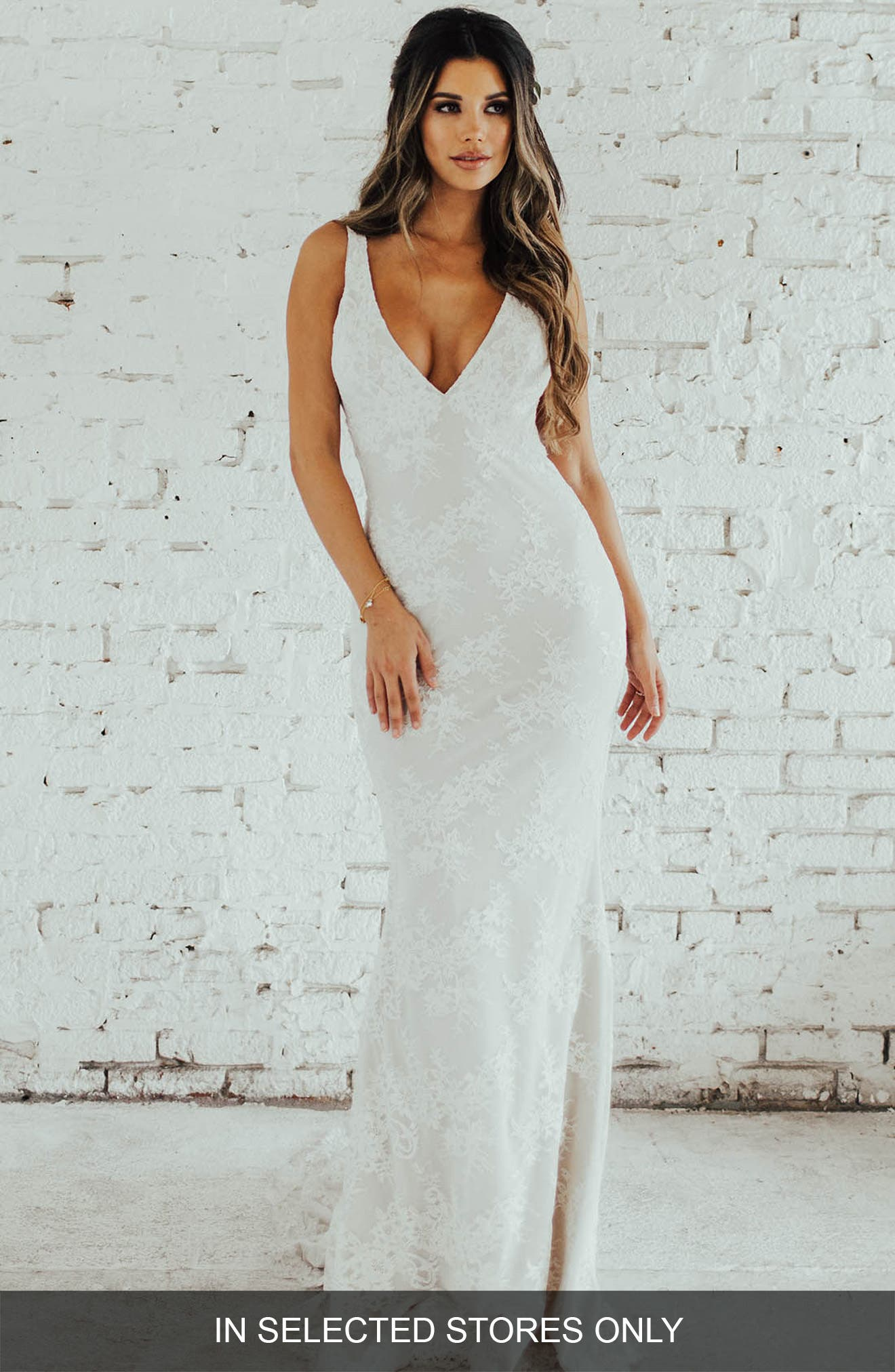 Oslo Chantilly Lace Mermaid Gown,                             Main thumbnail 1, color,                             Ivory/ Nude
