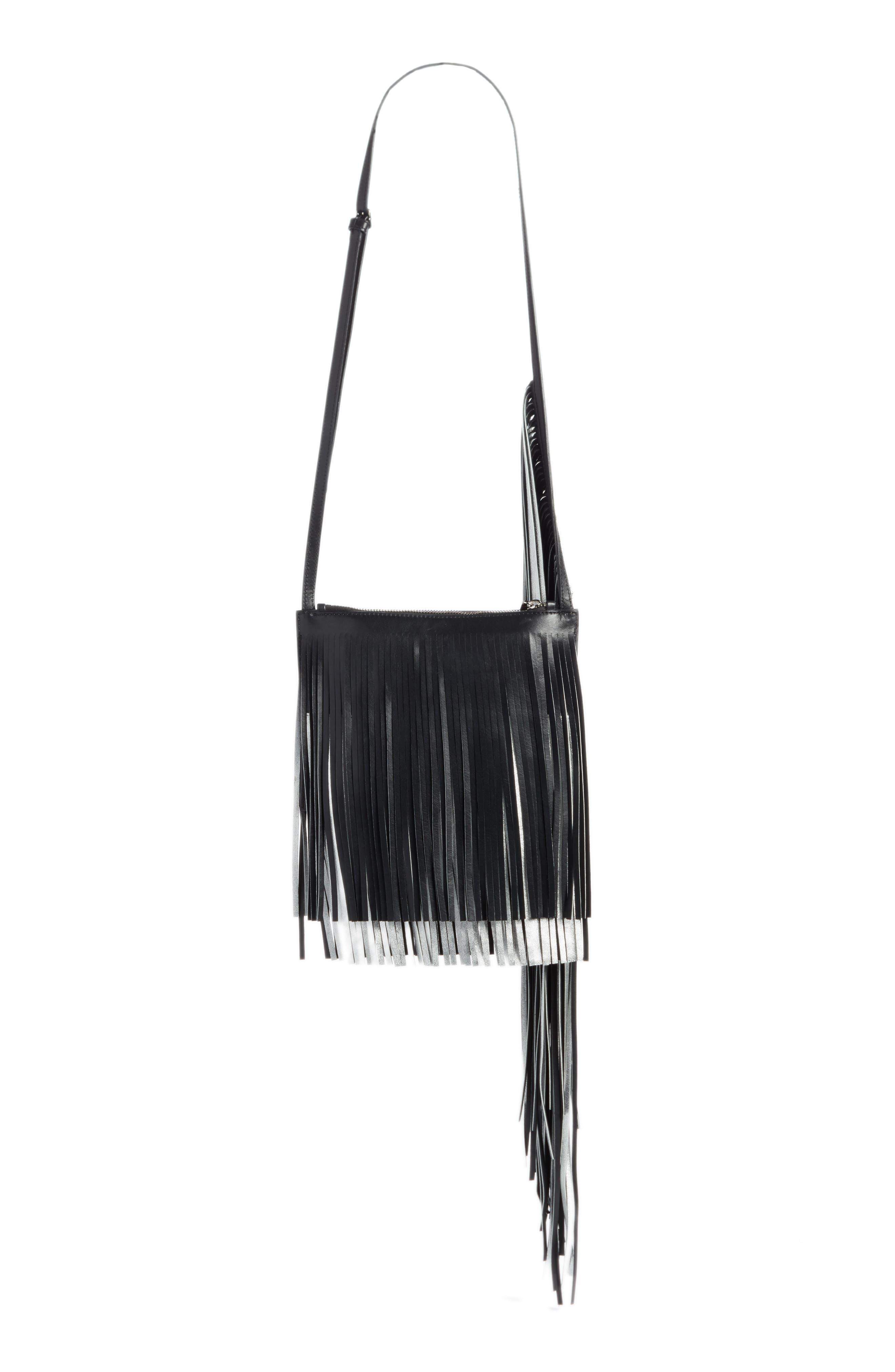 x Layered Fringe Leather Crossbody Bag,                             Alternate thumbnail 2, color,                             Black