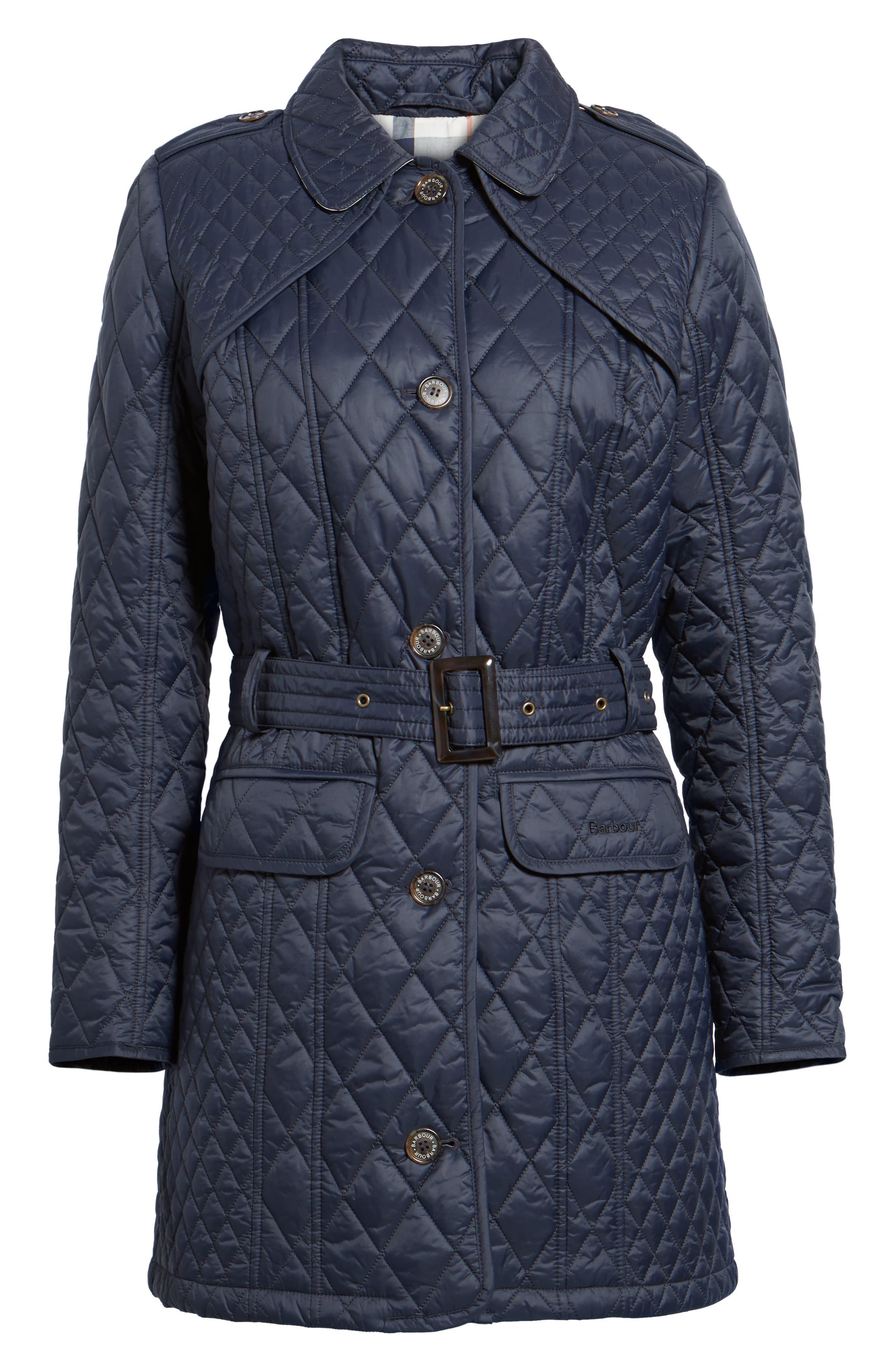 Hailes Quilted Trench Jacket,                             Alternate thumbnail 6, color,                             Navy