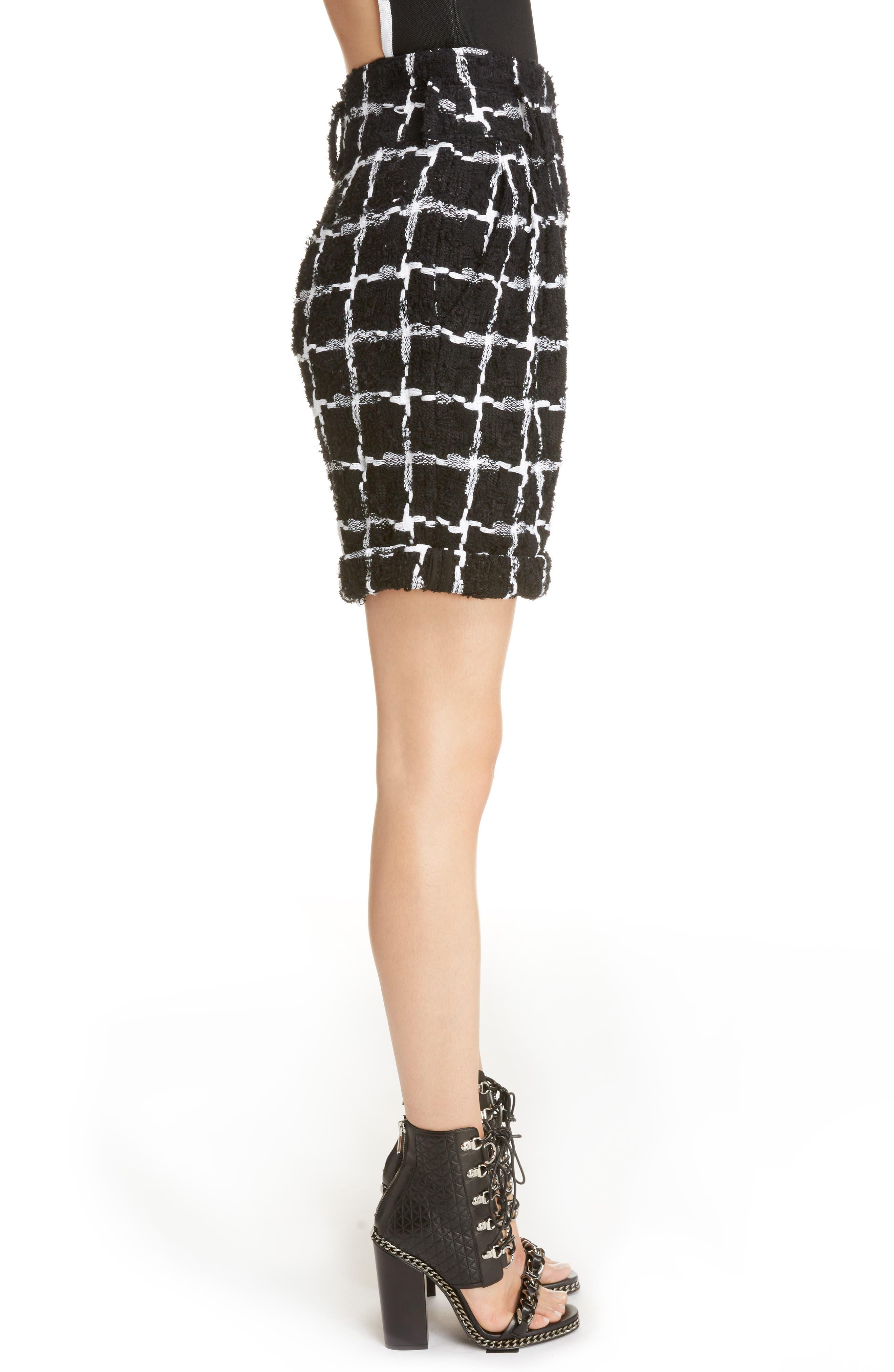 Windowpane Check Bouclé Shorts,                             Alternate thumbnail 4, color,                             Black/ White