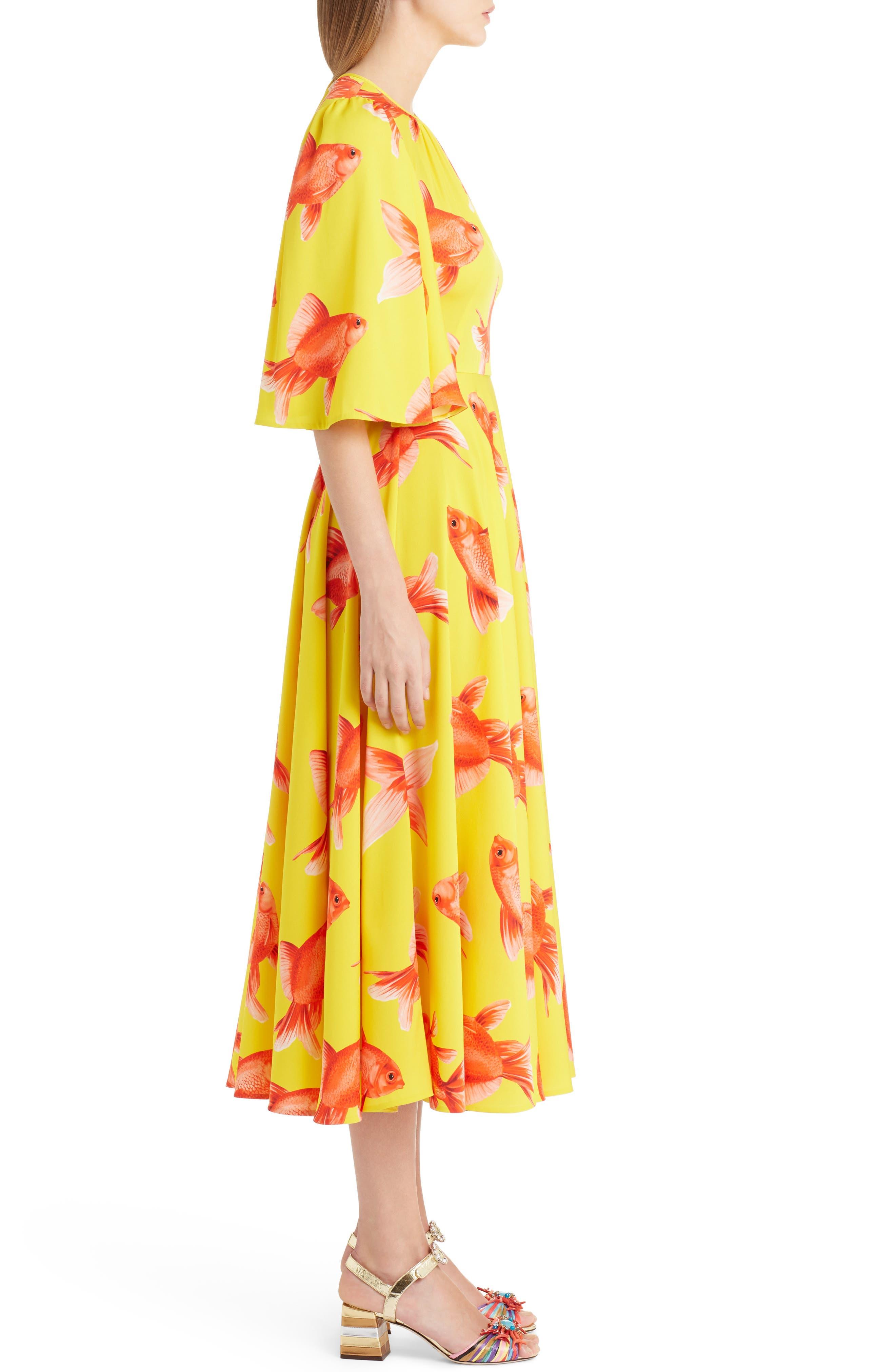 Goldfish Print Silk Blend Charmeuse Dress,                             Alternate thumbnail 4, color,                             Pesci