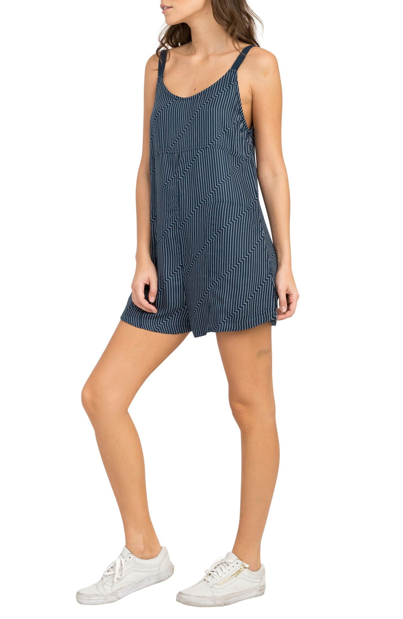 Jury's Out Zigzag Romper,                             Main thumbnail 1, color,                             Navy