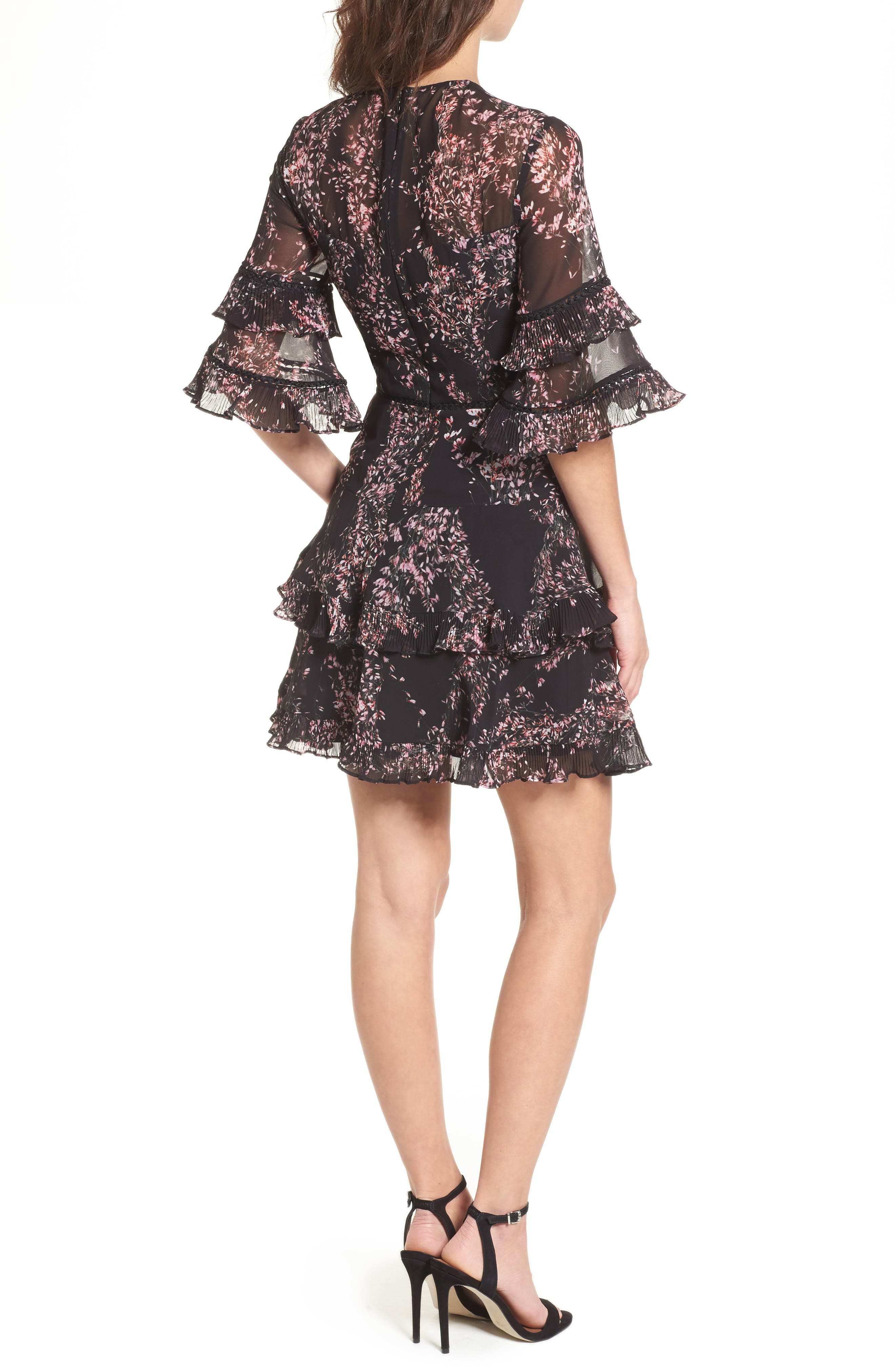 Light Up Ruffle Minidress,                             Alternate thumbnail 2, color,                             Black Wildflower Floral