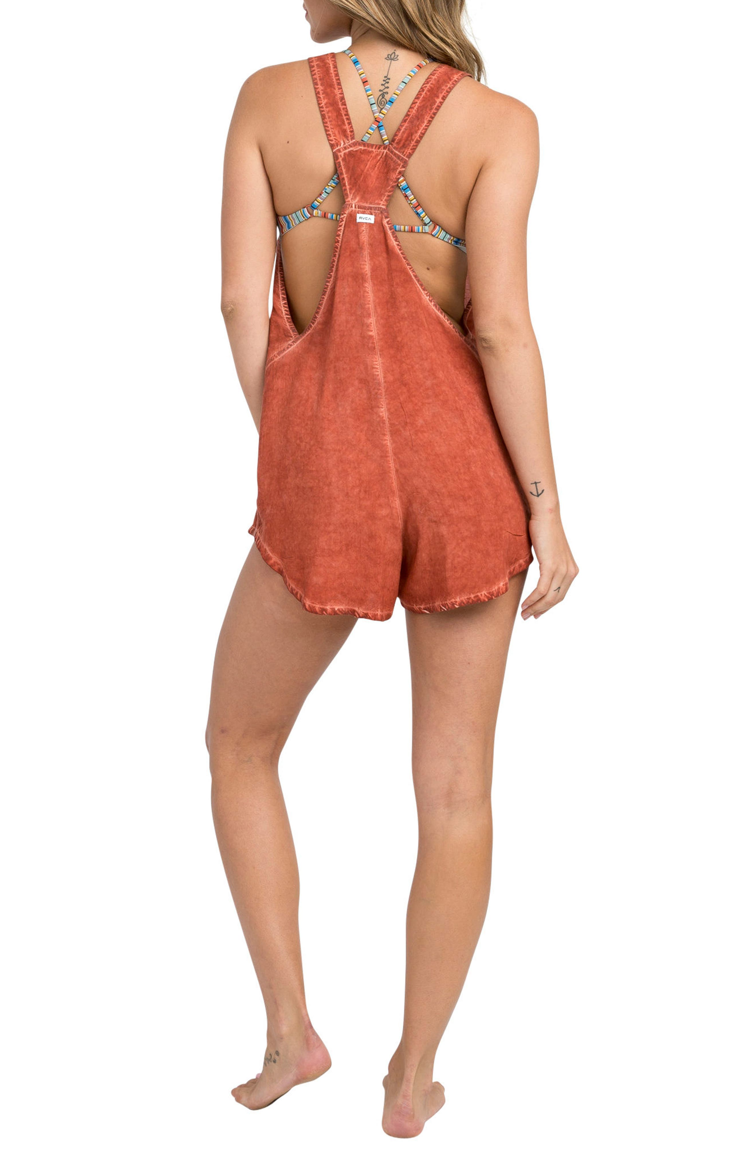 Itemized Romper,                             Alternate thumbnail 2, color,                             Red Clay