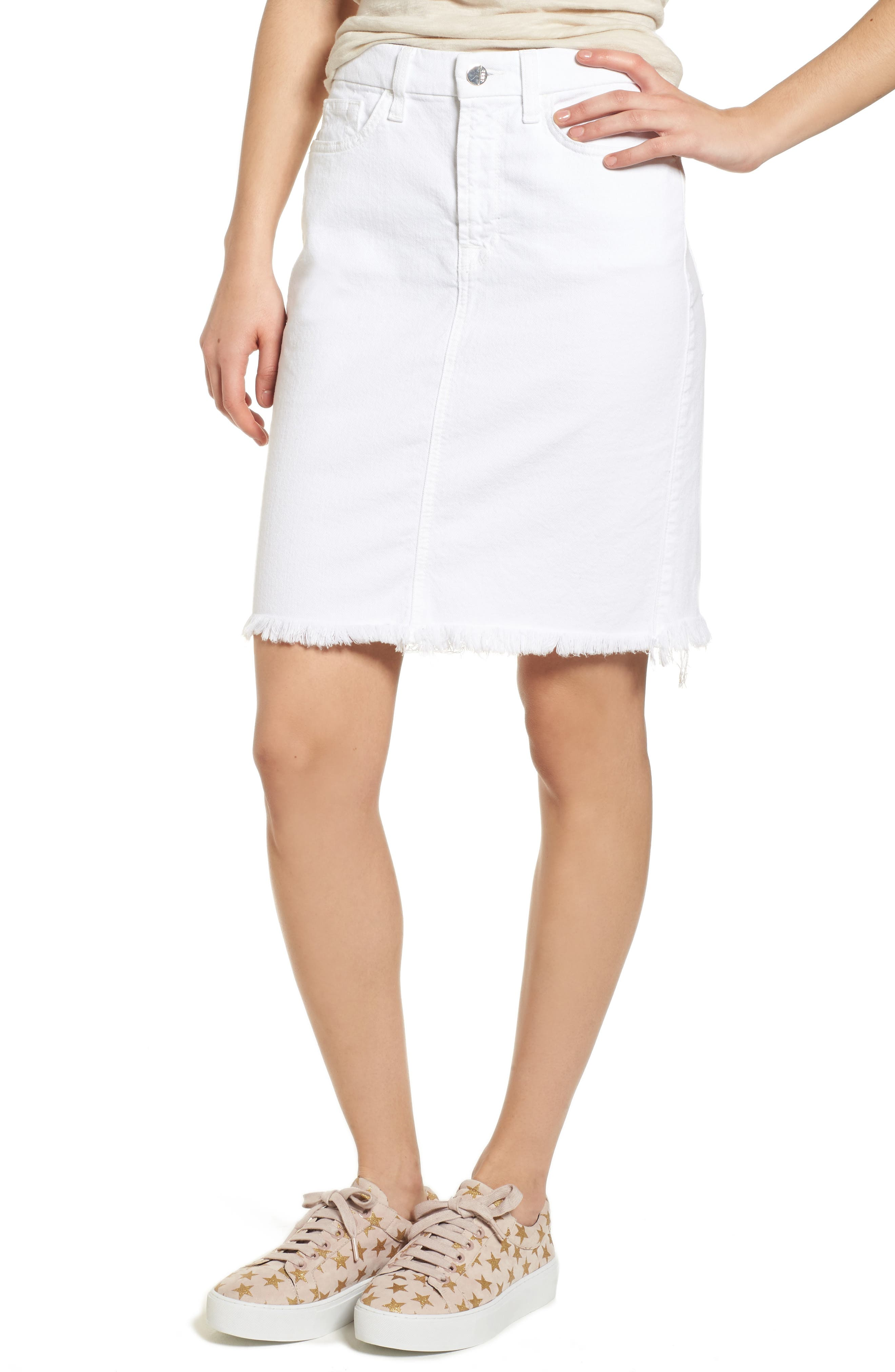 JEN7 Denim Pencil Skirt W/ Frayed Hem in White Fasion