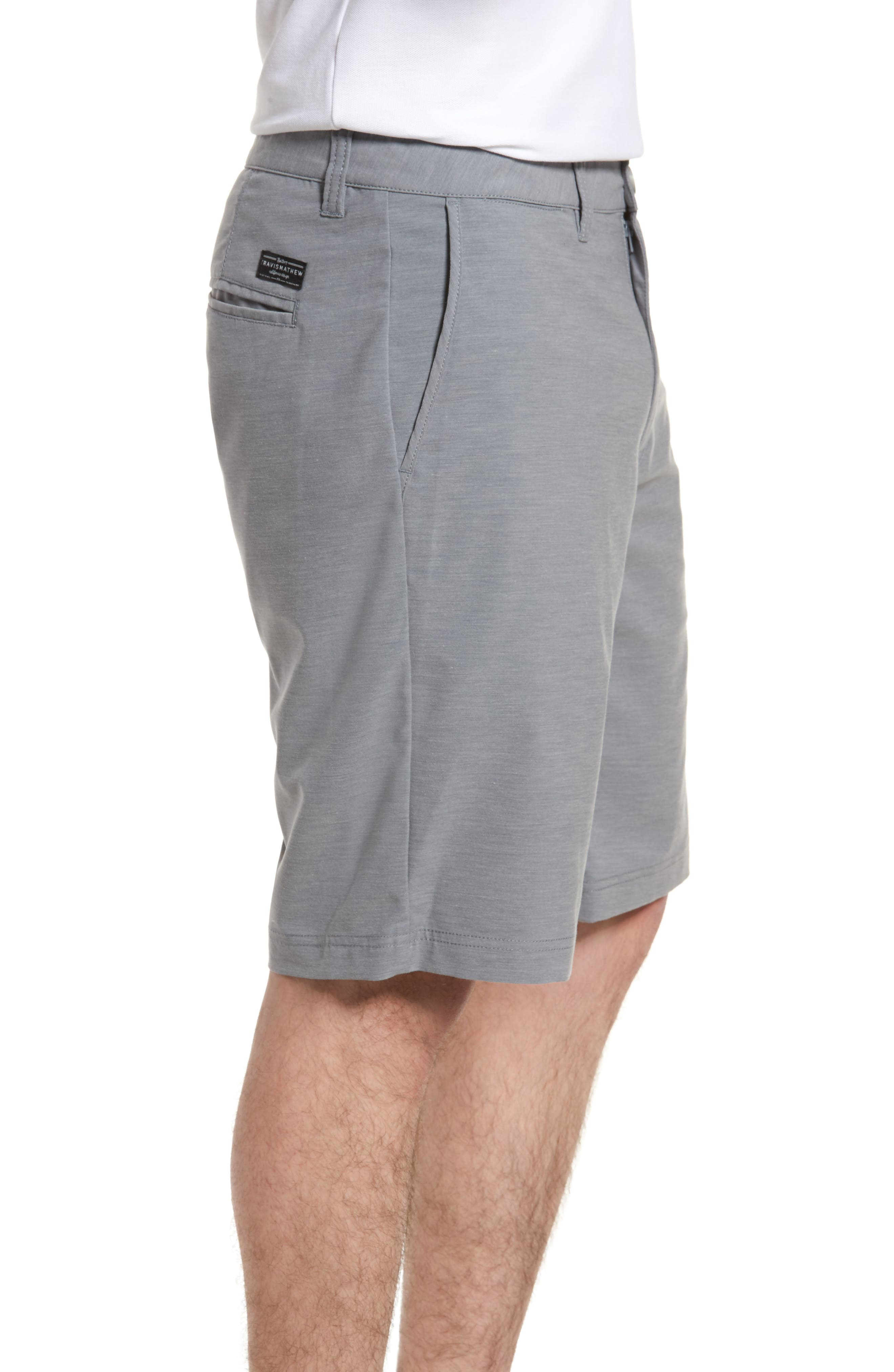 La Paz Regular Fit Slub Knit Shorts,                             Alternate thumbnail 3, color,                             Sharkskin