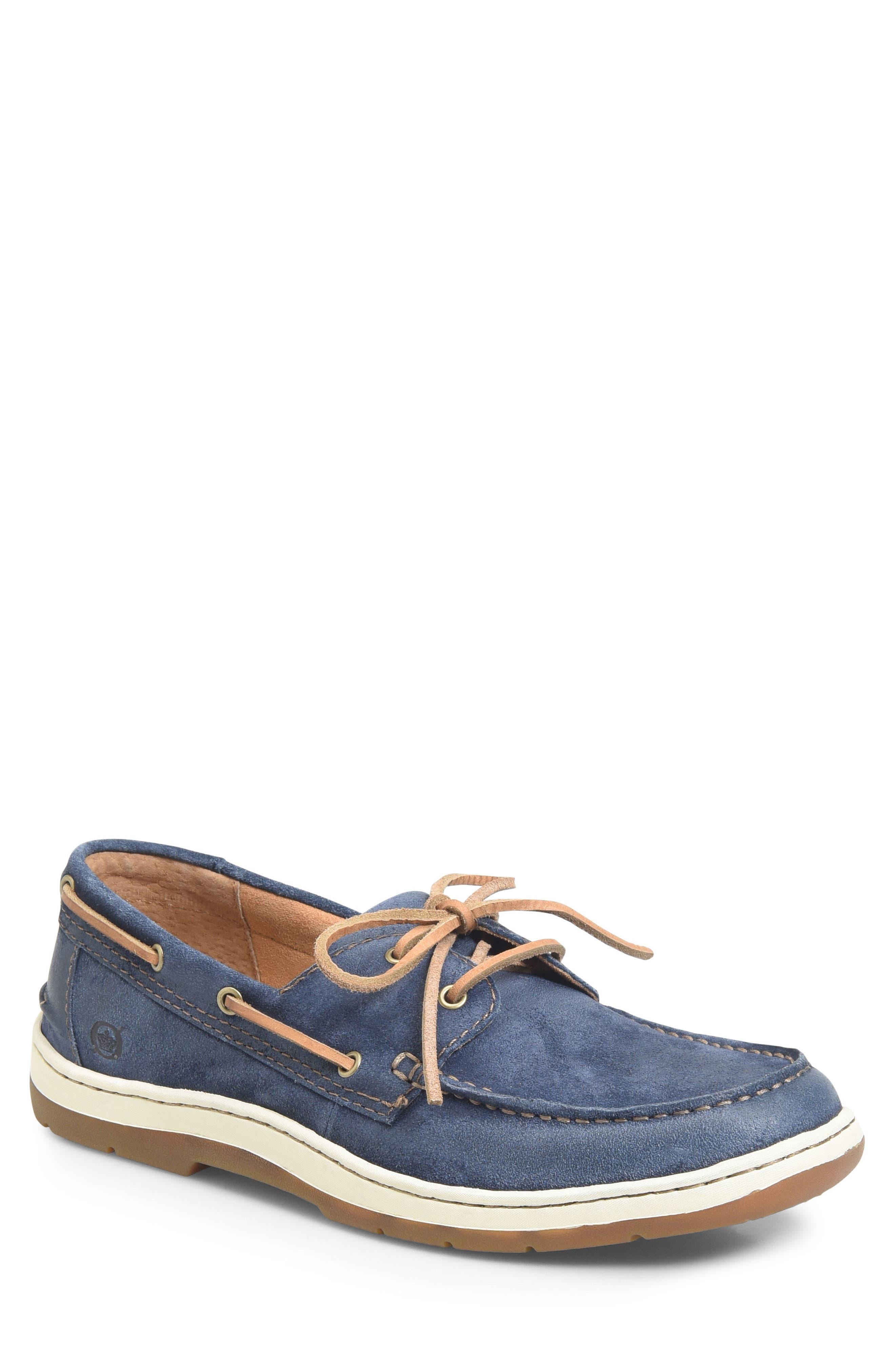 Ocean Boat Shoe,                             Main thumbnail 1, color,                             Dark Blue Leather