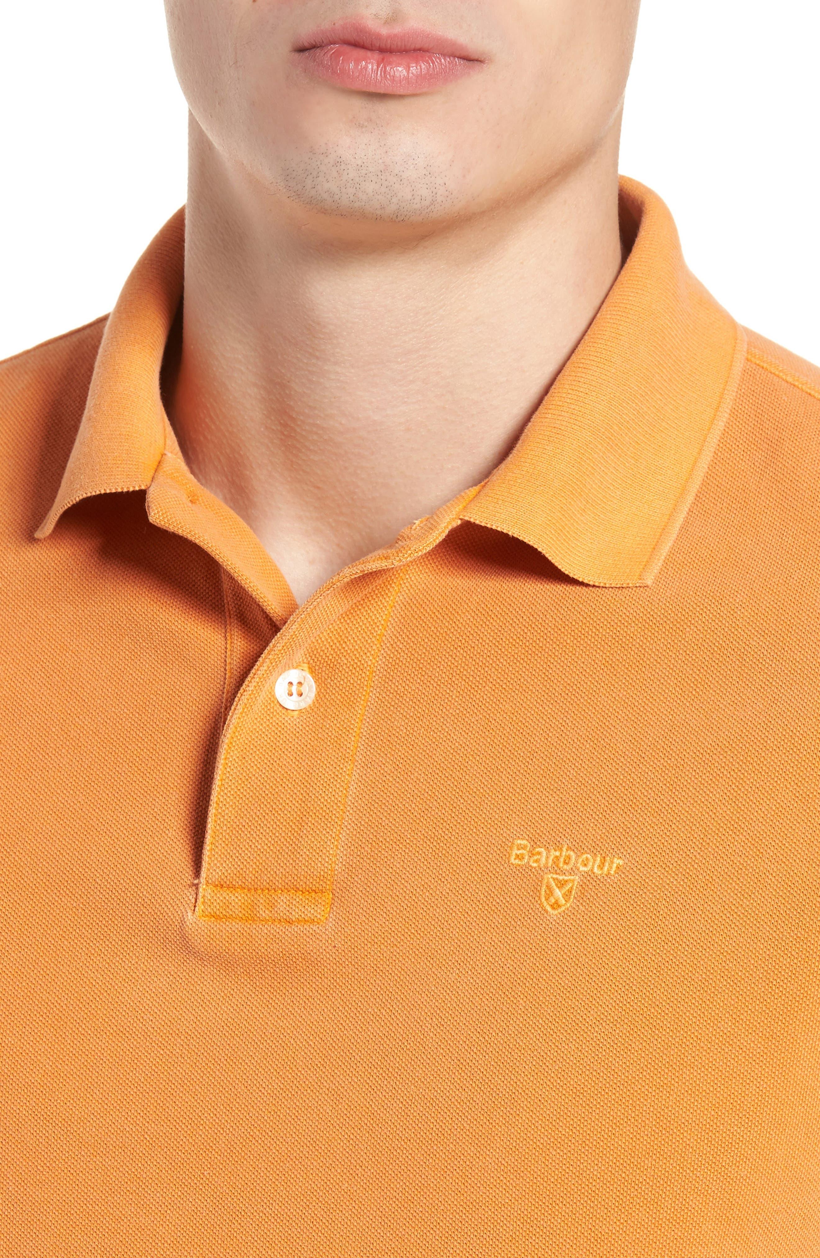 Washed Sports Polo Shirt,                             Alternate thumbnail 4, color,                             Acid Orange