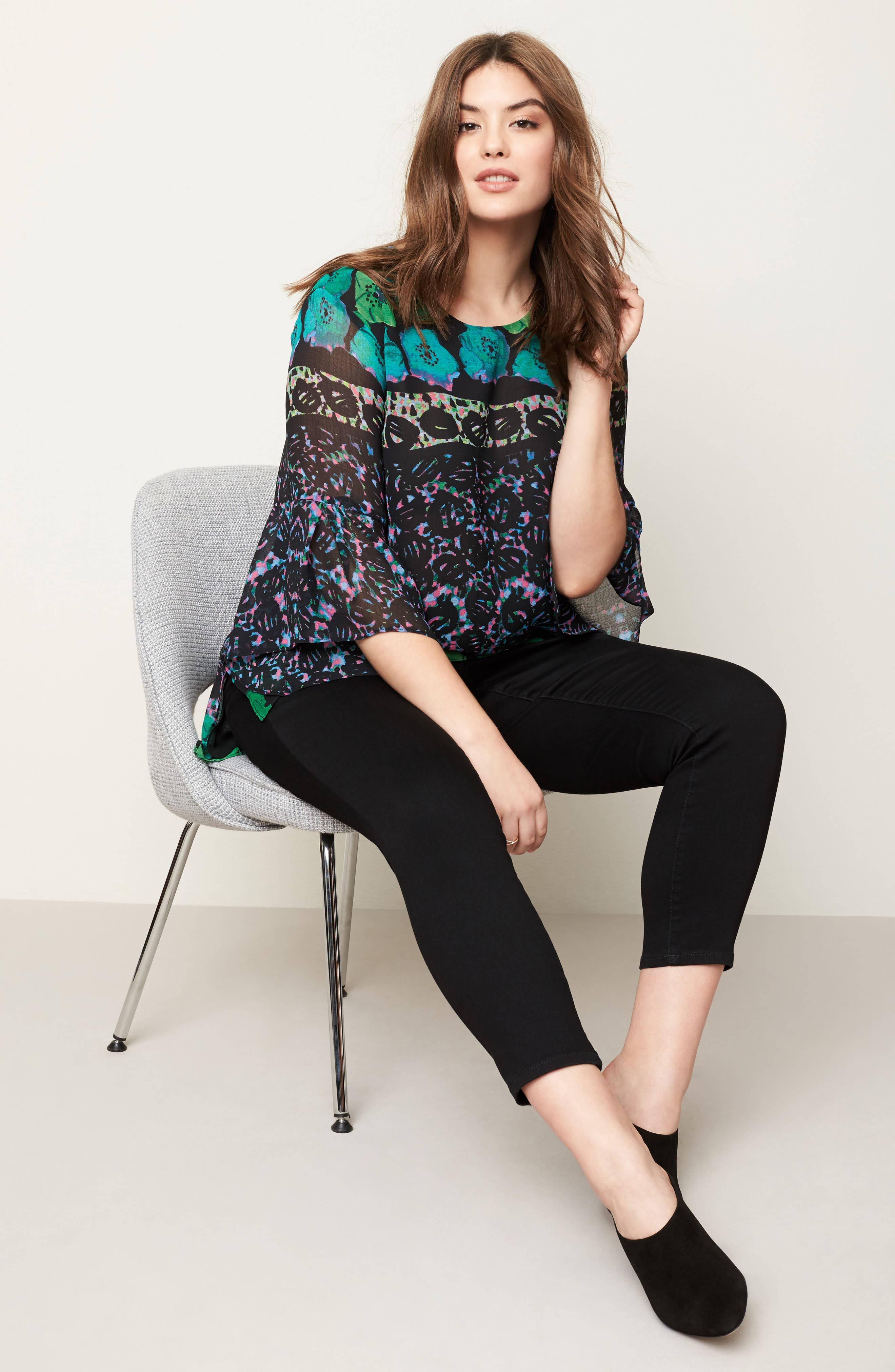 Alternate Image 2  - RACHEL Rachel Roy Print Bell Sleeve Blouse (Plus Size)