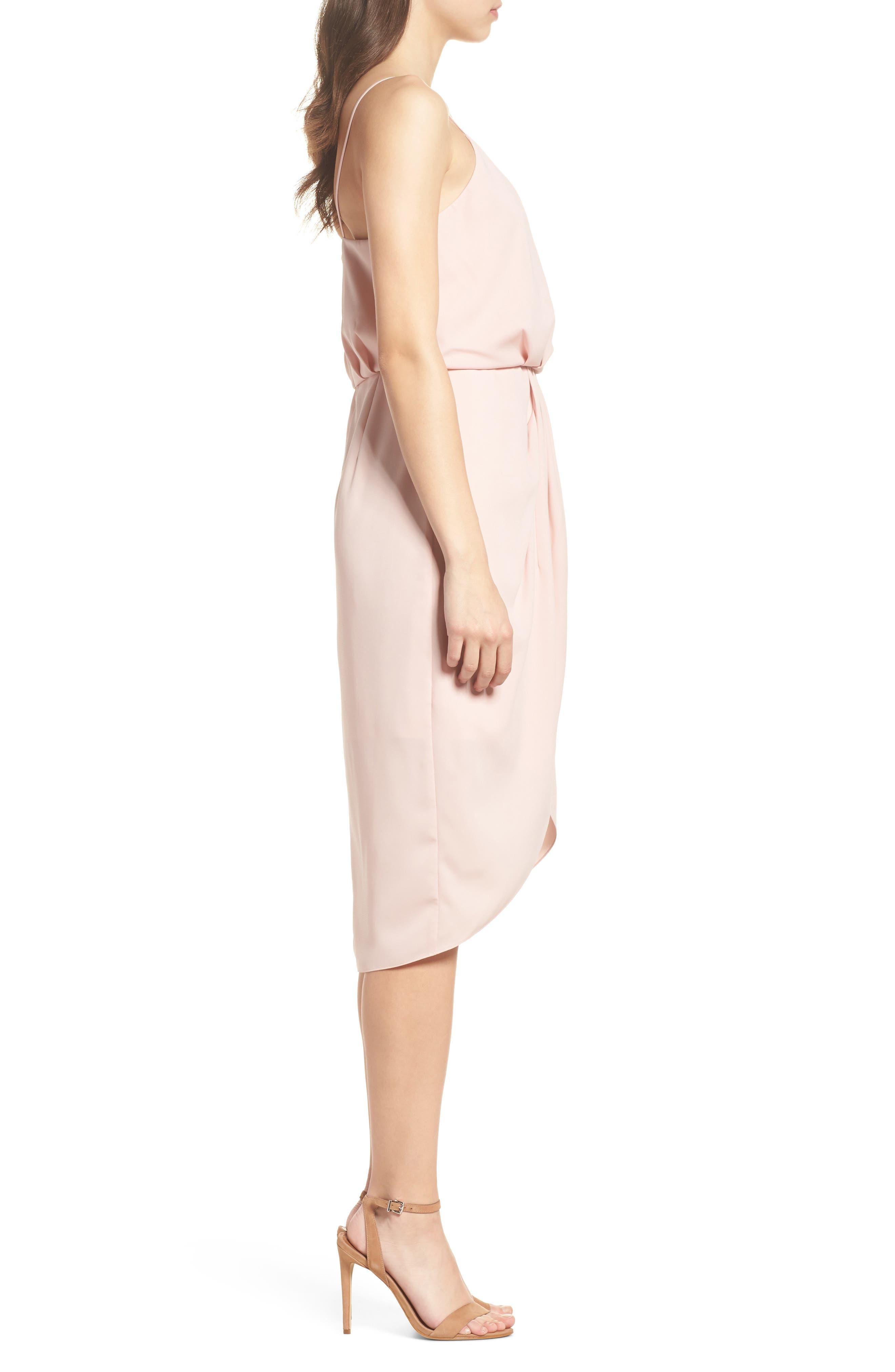 Print Faux Wrap Dress,                             Alternate thumbnail 3, color,                             Pink Peach