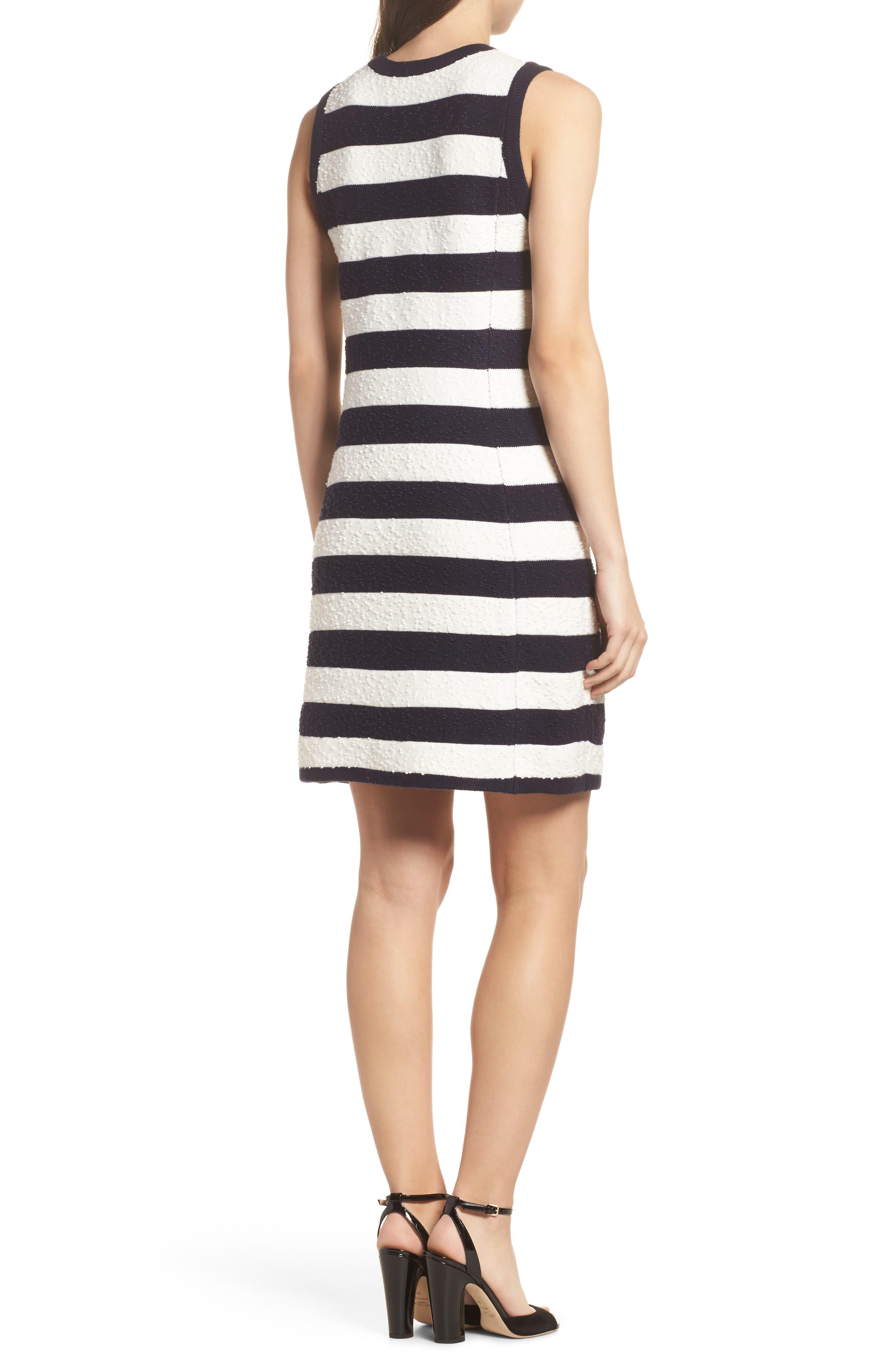 Stripe Sweater Dress,                             Alternate thumbnail 2, color,                             Navy/ Ivory