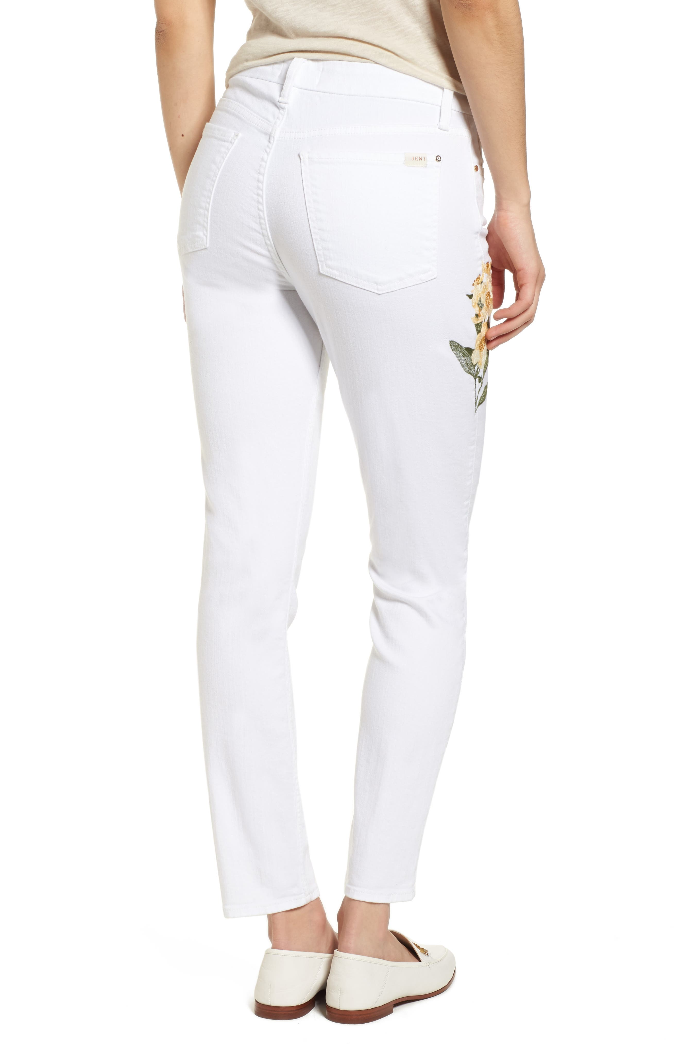 Embroidered Ankle Skinny Jeans,                             Alternate thumbnail 2, color,                             White M